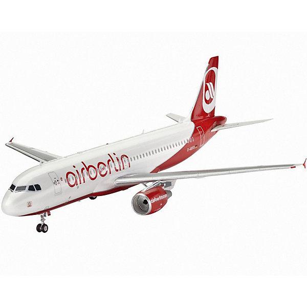 Набор Самолет Пассажирский Airbus A320 AirBerlinМодели для склеивания<br>Характеристики товара:<br><br>• возраст: от 10 лет;<br>• цвет: белый;<br>• масштаб: 1:144;<br>• количество деталей: 60 шт;<br>• материал: пластик;<br>• клей и краски в комплект не входят;<br>• длина модели: 26,1 см;<br>• размах крыльев: 23,5 см;<br>• бренд, страна бренда: Revell (Ревел), Германия;<br>• страна-изготовитель: Китай.<br><br>Набор для сборки «Самолет Пассажирский Airbus A320 AirBerlin» поможет вам и вашему ребенку придумать увлекательное занятие на долгое время. Airbus A320 — это очень популярный самолет, предназначенный для полета на авиалинии средней протяженности. Первый запуск самолета в небо произошел в 1988 году.<br><br>В комплект набора для сборки и раскрашивания входит: 60 пластиковых деталей, кисточка, краски и клей. А также подробная иллюстрирована инструкция, что позволяет собрать достоверную масштабную модель одноименного самолета.<br><br>Моделирование — это очень увлекательное и полезное занятие, которое по достоинству оценят не только дети, но и взрослые, увлекающиеся военной техникой. Сборка моделей поможет ребенку развить воображение, мелкую моторику ручек и логическое мышление.<br><br>Набор для сборки «Самолет Пассажирский Airbus A320 AirBerlin», 60 дет., Revell (Ревел) можно купить в нашем интернет-магазине.<br><br>Ширина мм: 370<br>Глубина мм: 340<br>Высота мм: 50<br>Вес г: 439<br>Возраст от месяцев: 96<br>Возраст до месяцев: 156<br>Пол: Мужской<br>Возраст: Детский<br>SKU: 3000678
