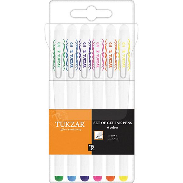 TUKZAR Набор гелевых ручек: 6  цветов, флуоресцентныеПоследняя цена<br>Набор гелевых ручек: Белый пластиковый корпус; рельефный цветной резиновый держатель (цвет соответствует цвету чернил); колпачок с клипом; толщина пишущего наконечника - 0,5 мм; 6 цветов, в прозрачной упаковке с европодвесом<br><br>Ширина мм: 175<br>Глубина мм: 79<br>Высота мм: 15<br>Вес г: 75<br>Возраст от месяцев: 36<br>Возраст до месяцев: 1188<br>Пол: Унисекс<br>Возраст: Детский<br>SKU: 3098110