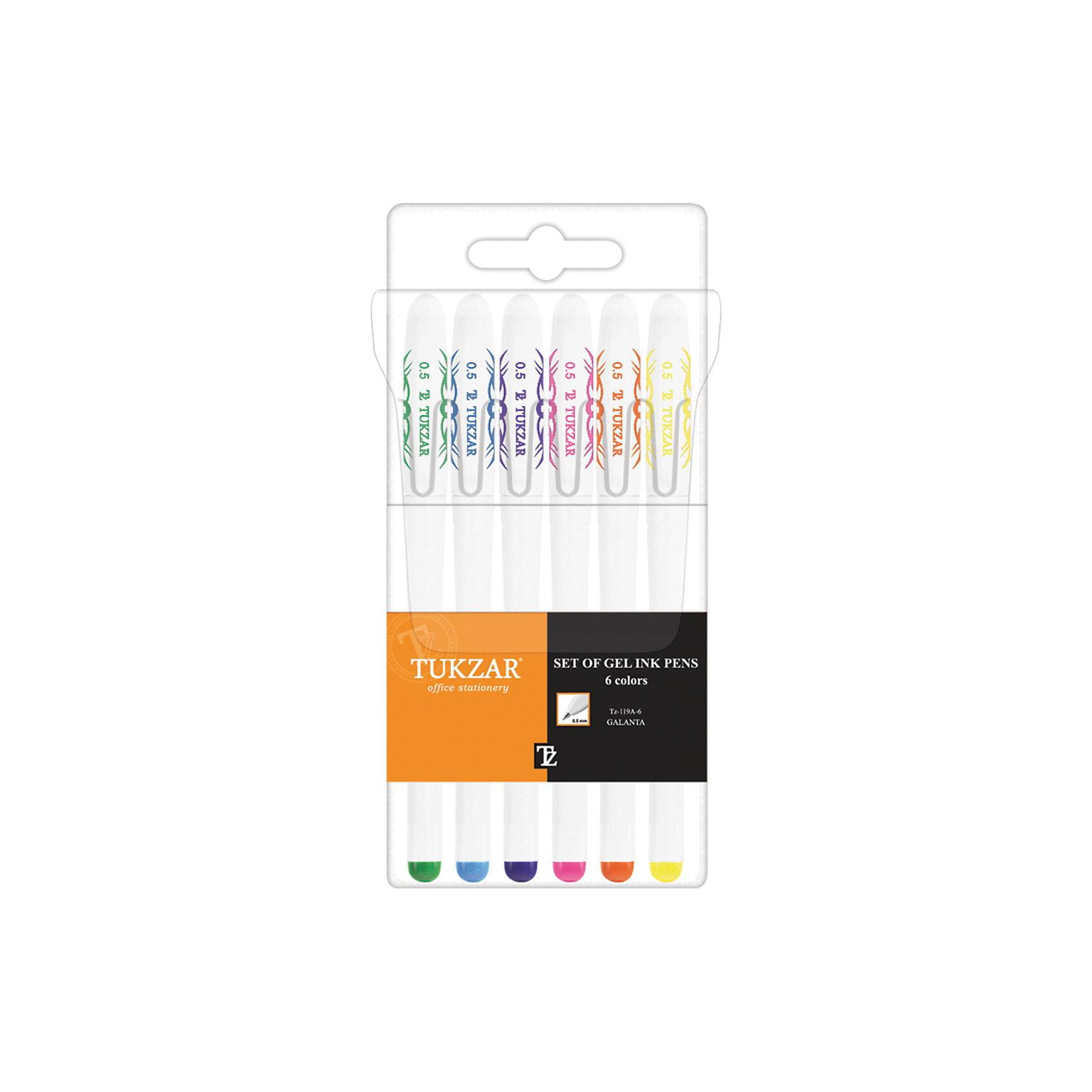 TUKZAR Набор гелевых ручек: 6  цветов, флуоресцентныеНабор гелевых ручек: Белый пластиковый корпус; рельефный цветной резиновый держатель (цвет соответствует цвету чернил); колпачок с клипом; толщина пишущего наконечника - 0,5 мм; 6 цветов, в прозрачной упаковке с европодвесом<br><br>Ширина мм: 175<br>Глубина мм: 79<br>Высота мм: 15<br>Вес г: 75<br>Возраст от месяцев: 36<br>Возраст до месяцев: 1188<br>Пол: Унисекс<br>Возраст: Детский<br>SKU: 3098110