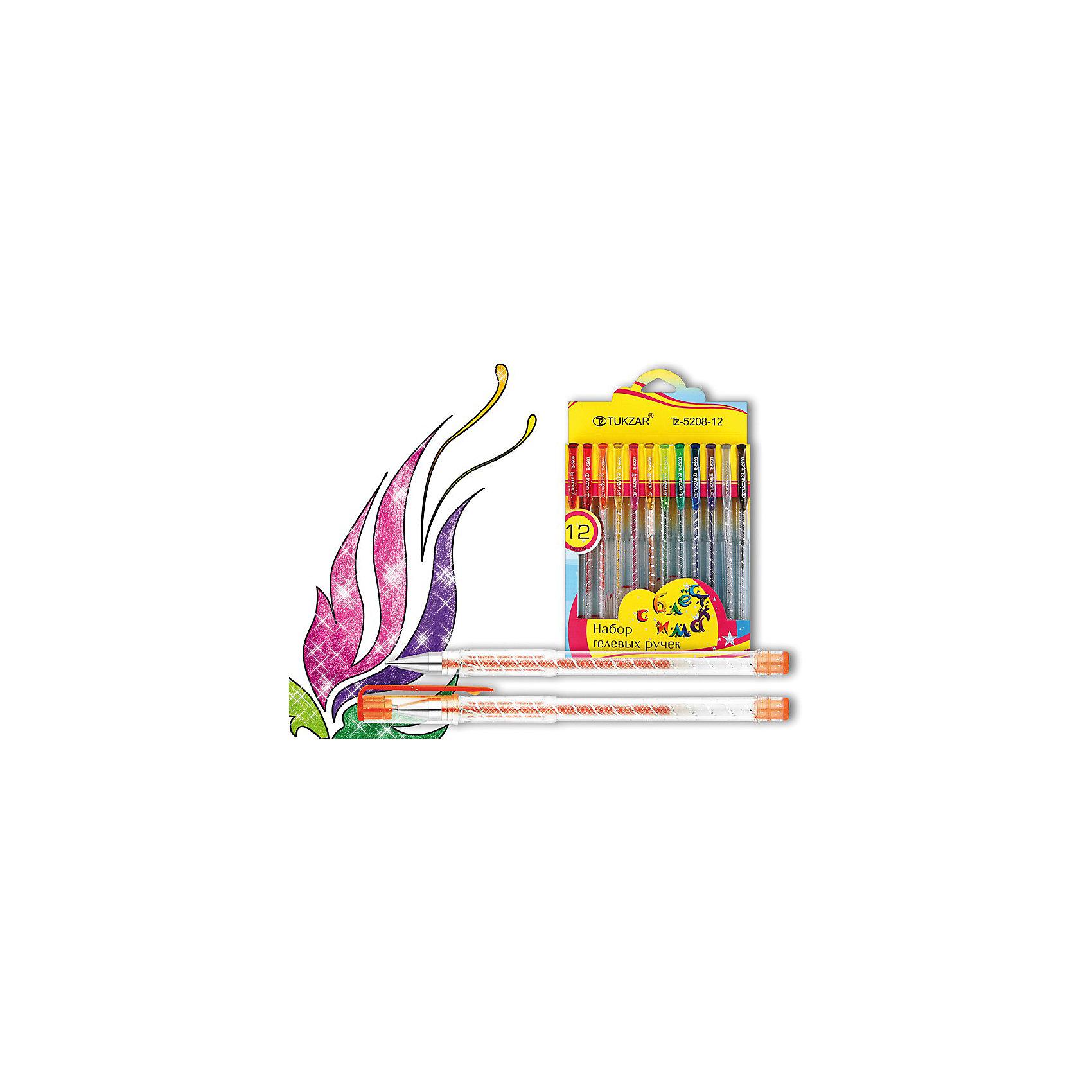 TUKZAR Набор гелевых ручек суперметаллик 12 цв.Характеристики товара:<br><br>• материал: пластик<br>• комплектация: 12 шт<br>• колпачок с клипом<br>• чернила: суперметаллик с блестками<br>• прозрачный корпус<br>• упаковка: с европодвесом<br>• страна бренда: Российская Федерация<br>• страна производства: Китай<br><br>Сделать учебу интереснее для ребенка поможет этот набор цветных ручек! Ими не только гораздо веселее писать и рисовать, чем обычной синей, такие ручки помогут детям научиться выделять разными цветами важные и второстепенные вещи, позволят делать яркие пометки, разбивать текст на части, рисовать схемы и графики.<br>Ручки качественно выполнены, сделаны из безопасных для детей материалов. Упаковка - удобная, в ней можно хранить ручки. Письмо и рисование помогает детям лучше развить мелкую моторику, память, внимание, аккуратность и мышление.<br><br>Набор гелевых ручек суперметаллик 12 цв. от бренда TUKZAR можно купить в нашем интернет-магазине.<br><br>Ширина мм: 208<br>Глубина мм: 112<br>Высота мм: 12<br>Вес г: 99<br>Возраст от месяцев: 36<br>Возраст до месяцев: 1188<br>Пол: Унисекс<br>Возраст: Детский<br>SKU: 3098126