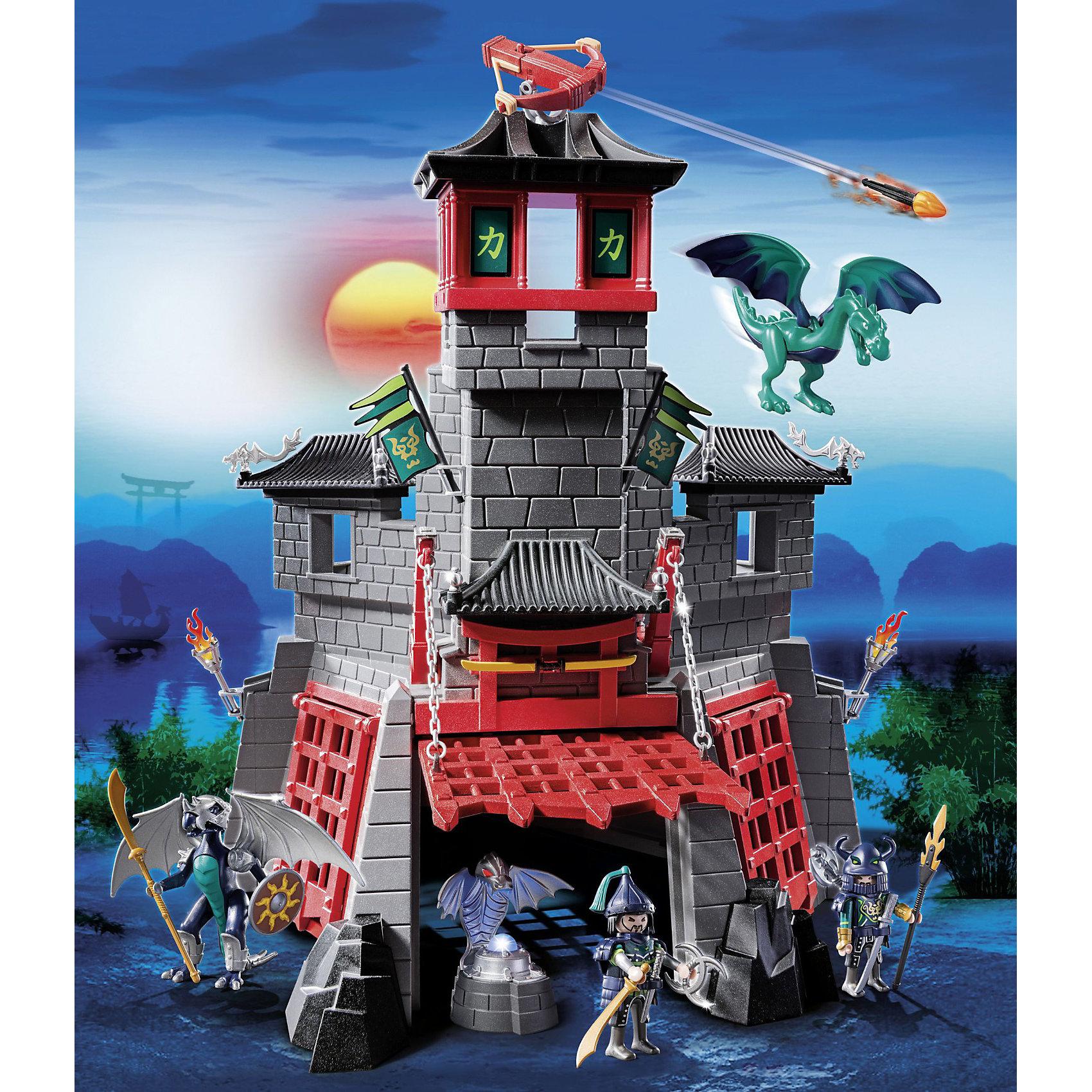 Секретный форт Дракона, PLAYMOBILPLAYMOBIL 5480 Азиатский дракон: Секретный форт Дракона - впечатляющий игровой набор с элементами конструктора, который не оставит равнодушным не только ребенка но даже взрослого. В наборе Вы найдете военный форт в традиционном азиатском стиле с характерными башенками и крышами. Подвесные ворота открываются, внутри расположен тайник, защищенный падающей решеткой с шипами, в котором хранится магический кристалл. В форте размещено множество тайных ловушек, темниц и сокровищниц, что превратит поиск кристалла в настоящее захватывающее приключение. Охраняют форт два голубых дракона, которые не допустят врага на свою территорию. На крыше установлено работающее орудие, которое стреляет огненными зарядами.<br><br>Множество аксессуаров и игровых элементов открывают большой простор для фантазии и сделают игру еще интереснее. У фигурок воинов и маленького дракона подвижные части тела, можно вложить им в руки мелкие предметы, вся экипировка легко снимается. Большой дракон облачен в броню, которая снимается, на спину ему можно посадить фигурку воина. Включенная лампочка в кристалле горит 90 секунд, предусмотрен автоматический и ручной механизм ее отключения. Набор Секретный форт Дракона можно совмещать с другими наборами серии Азиатский дракон Playmobil. <br><br>Дополнительная информация:<br><br>- В комплекте: форт, 2 рыцаря в доспехах, 2 дракона, стреляющая пушка, потайной люк в полу, ворота, поднимающиеся на цепях, чучело дракона, аксессуары: оружие, щиты,<br>  факелы, кружки, лестница, флаги.  <br>- Материал: пластик.<br>- Высота фигурок рыцарей: 7,5 см.<br>- Требуется батарейка: 1 х ААА (в комплект не входит).<br>- Размер упаковки: 40 х 17,5 х 50 см. <br>- Вес: 2,5 кг.<br><br>PLAYMOBIL 5480 Азиатский дракон: Секретный форт Дракона (Плеймобил) можно купить в нашем интернет-магазине.<br><br>Ширина мм: 504<br>Глубина мм: 401<br>Высота мм: 180<br>Вес г: 2115<br>Возраст от месяцев: 60<br>Возраст до месяцев: 144<br>Пол: Мужской<br>Возраст: Детский<