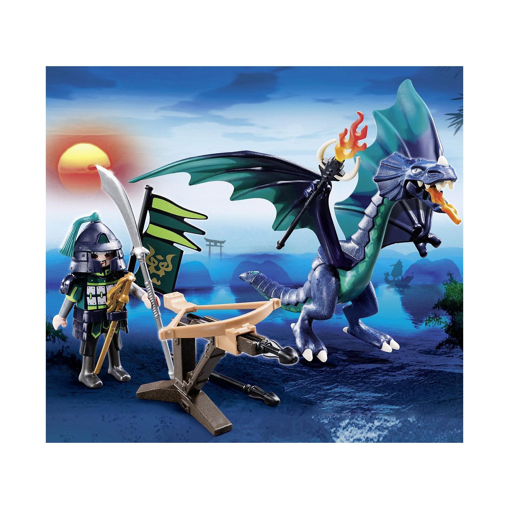 PLAYMOBIL  5484 Азиатский дракон: Дракон в броне«Азиатский дракон: Дракон в броне» – оригинальная игрушка для ребенка, жаждущего приключений<br>«Азиатский дракон: Дракон в броне» от Playmobil (Плеймобил) станет интересным и желанным подарком для ребенка. <br>Ведь с ним он сможет представить себя участником захватывающих приключений средневековья, как в борьбе с драконом, так и воображая его своим товарищем. <br>Набор включает в себя девять игрушек, а именно дракона, рыцаря в доспехах, его меч и алебарду, флаг, факел, большой боевой арбалет на подставке и две стрелы для него.  <br>Рыцаря можно посадить на спину дракона, он будет удерживаться, упираясь ногами в крылья ящера. <br>У дракона подвижны конечности: голова, ноги, лапы, крылья, также он может переносить в своих лапах факел и оружие. <br>Из арбалета можно стрелять идущими в комплекте стрелами, действует он механически, батарейки для этого не понадобятся. <br>Конструкторы от Playmobil помогают ребенку развивать воображение и мелкую моторику, логическое мышление, фантазию, эмоциональное восприятие.<br><br>PLAYMOBIL  5484 Азиатский дракон: Дракон в броне можно купить в нашем магазине.<br><br>Ширина мм: 255<br>Глубина мм: 205<br>Высота мм: 78<br>Вес г: 196<br>Возраст от месяцев: 60<br>Возраст до месяцев: 144<br>Пол: Мужской<br>Возраст: Детский<br>SKU: 3101950