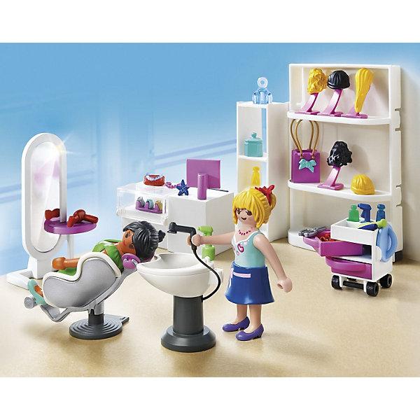 Торговый центр: Салон красоты, PLAYMOBILПластмассовые конструкторы<br>Торговый центр: Салон красоты, PLAYMOBIL (Плэймобил)<br><br>Характеристики:<br><br>• всё необходимое для игры в парикмахерскую и салон красоты<br>• игрушки изготовлены из безопасных материалов<br>• в комплекте: 2 фигурки, аксессуары<br>• материал: пластик<br>• размер упаковки: 8,1х30,5х22,9 см<br><br>Набор Торговый центр: Салон красоты поможет девочке создать игрушечный салон красоты с участием двух куколок. Фигуркам девочек, входящим в комплект можно сменить одежду и даже парик. В наборе вы найдете кресла, раковину, зеркало, полочку, тюбики и многое другое. Игрушки изготовлены из нетоксичного пластика, безопасного для детей. Создайте настоящий салон красоты для кукол у себя дома!<br><br>Торговый центр: Салон красоты, PLAYMOBIL (Плэймобил) можно купить в нашем интернет-магазине.<br>Ширина мм: 255; Глубина мм: 203; Высота мм: 81; Вес г: 322; Возраст от месяцев: 60; Возраст до месяцев: 144; Пол: Женский; Возраст: Детский; SKU: 3101960;
