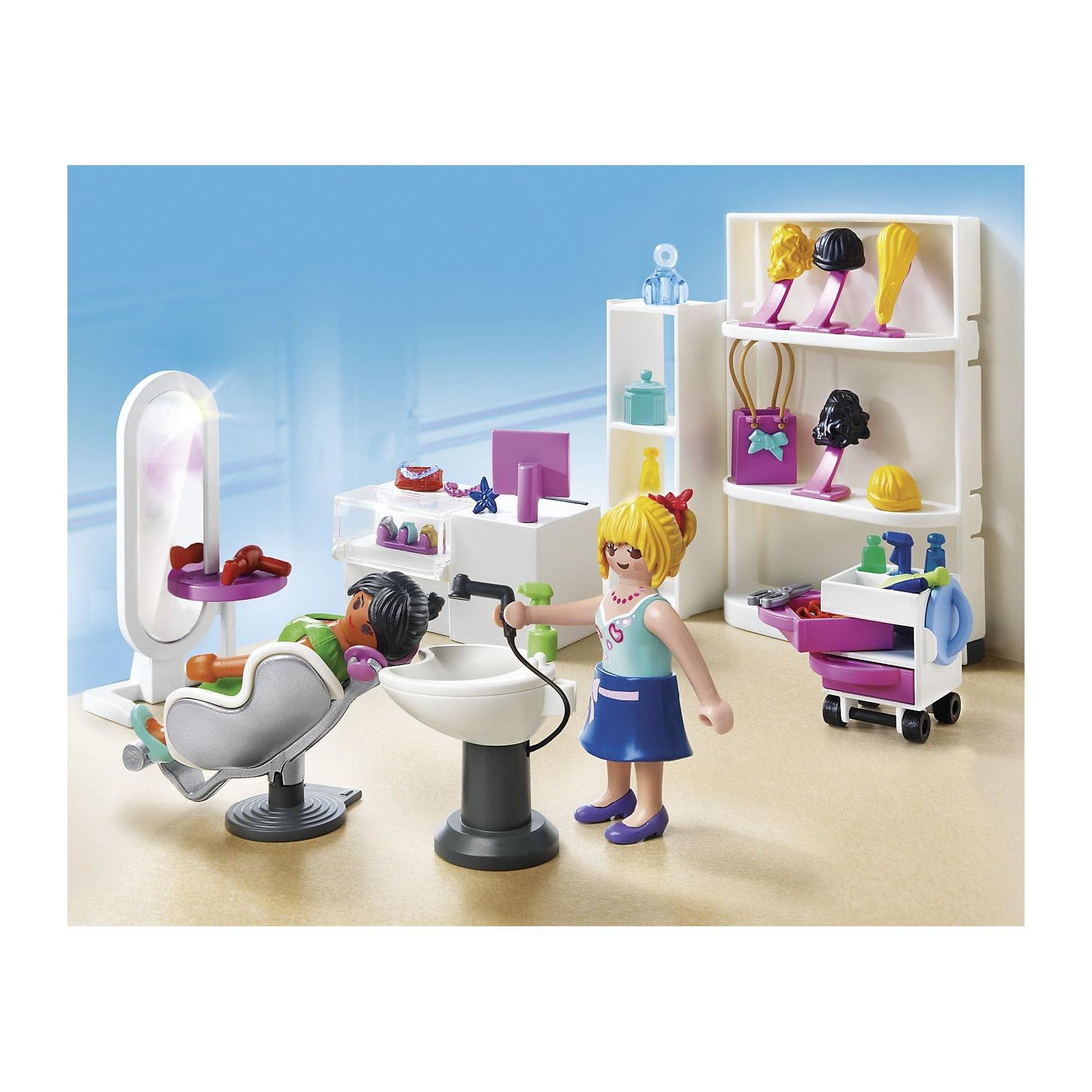 Торговый центр: Салон красоты, PLAYMOBILПластмассовые конструкторы<br>Торговый центр: Салон красоты, PLAYMOBIL (Плэймобил)<br><br>Характеристики:<br><br>• всё необходимое для игры в парикмахерскую и салон красоты<br>• игрушки изготовлены из безопасных материалов<br>• в комплекте: 2 фигурки, аксессуары<br>• материал: пластик<br>• размер упаковки: 8,1х30,5х22,9 см<br><br>Набор Торговый центр: Салон красоты поможет девочке создать игрушечный салон красоты с участием двух куколок. Фигуркам девочек, входящим в комплект можно сменить одежду и даже парик. В наборе вы найдете кресла, раковину, зеркало, полочку, тюбики и многое другое. Игрушки изготовлены из нетоксичного пластика, безопасного для детей. Создайте настоящий салон красоты для кукол у себя дома!<br><br>Торговый центр: Салон красоты, PLAYMOBIL (Плэймобил) можно купить в нашем интернет-магазине.<br><br>Ширина мм: 255<br>Глубина мм: 203<br>Высота мм: 81<br>Вес г: 322<br>Возраст от месяцев: 60<br>Возраст до месяцев: 144<br>Пол: Женский<br>Возраст: Детский<br>SKU: 3101960