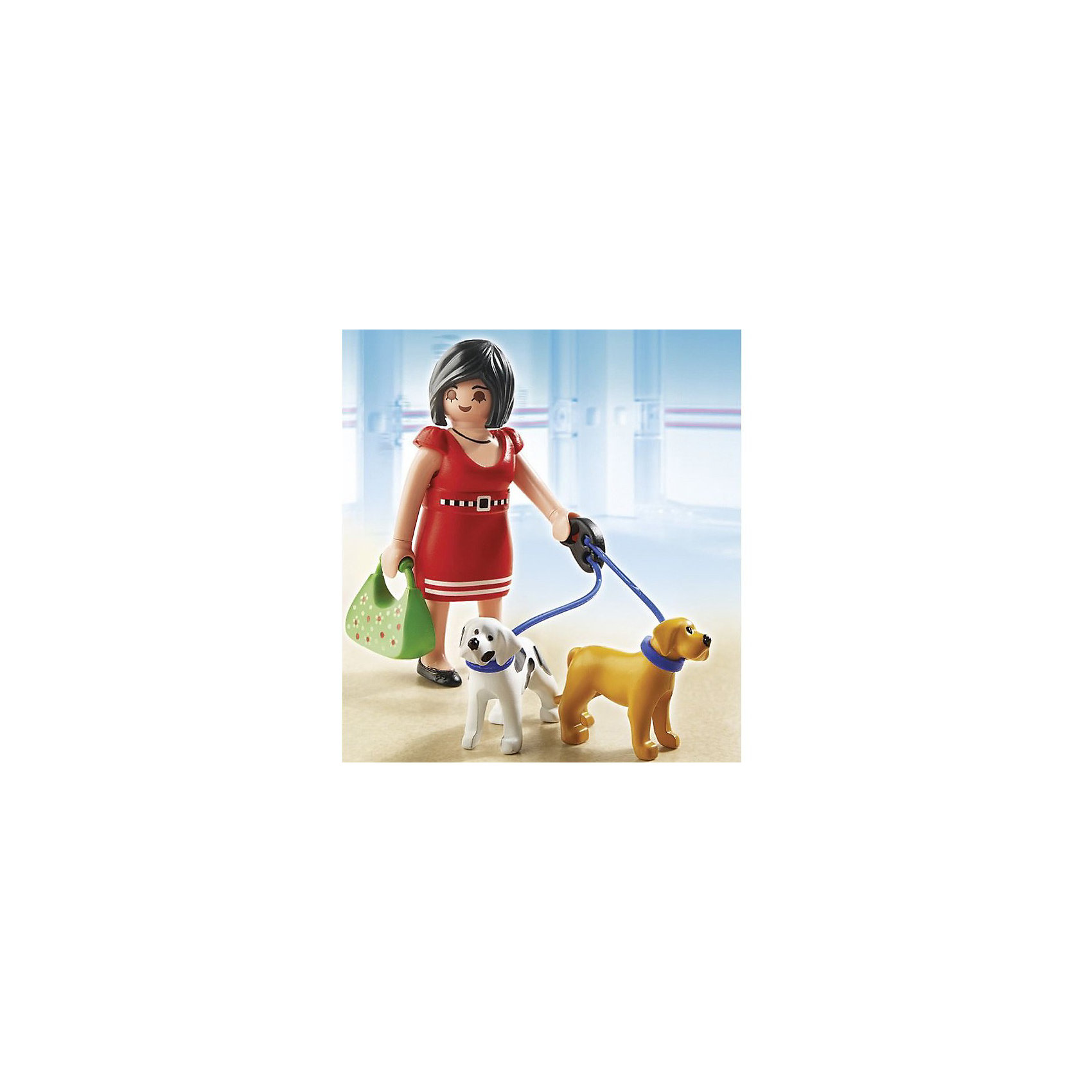 PLAYMOBIL 5490 Торговый центр: Покупательница с щенкамиЯркая и прекрасно детализированная фигурка обязательно привлечет внимание детей. Пройдись по магазинам вместе с двумя очаровательными щенками. Только не спускай их с поводка: собаки могут потеряться. Все детали набора выполнены из высококачественного пластика безопасного для детей. Наборы этой серии наглядно рассказывают ребенку об окружающем его современном мире, помогают сформировать социальные навыки. Можно проигрывать с ребенком различные сцены из жизни (например, в гостях, на прогулке в городе, в магазине) тренируя его коммуникативные способности  и обучая тому, как вести себя в различных жизненных ситуациях. <br><br>Дополнительная информация:<br><br>- Материал: пластик.<br>- Размер фигурки: 7,5 см.<br>- Комплектация: фигурка девушки, две фигурки щенков, сумочка, платье.<br>- Руки, ноги, голова у фигурки подвижные. <br>- Платье можно снимать и одевать.<br>- Щенков можно спустить с поводка. <br>- Совместим с другими наборами этой серии. <br><br>Набор PLAYMOBIL 5490 Торговый центр: Покупательница с щенками, можно купить в нашем магазине.<br><br>Ширина мм: 152<br>Глубина мм: 98<br>Высота мм: 54<br>Вес г: 58<br>Возраст от месяцев: 60<br>Возраст до месяцев: 144<br>Пол: Женский<br>Возраст: Детский<br>SKU: 3101963