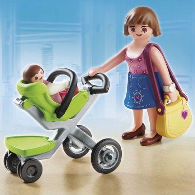 PLAYMOBIL® Покупательница с ребенком в коляске, PLAYMOBIL