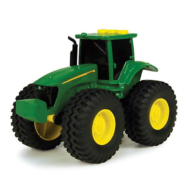 Игрушечный трактор Farm (свет, звук) TOMYГрузовики<br>Мальчишки обожают машины и технику. Этот трактор полюбится любому ребенку. Трактор имеет большие колеса, которые уверенно проедут по любой местности. На крыше кабины находятся кнопки, при нажатии на них будет слышен звук мотора, рев трактора и включится подсветка в кабине.   Игрушка выполнена из высококачественных материалов, безопасных для детей. Все детали прекрасно проработаны и очень реалистичны. <br><br>Дополнительная информация:<br><br>- Материал: пластик, металл, резина.<br>- Цвет: зеленый, черный, желтый.<br>- Элемент питания: 3 батарейки  таблетки (в комплекте).<br>- Размер: 12 х 9 х 9 см<br>- Световые эффекты: есть.<br>- Звуковые эффекты: есть.<br><br> Трактор с большими колесами, TOMY можно купить в нашем магазине.<br><br>Ширина мм: 189<br>Глубина мм: 187<br>Высота мм: 137<br>Вес г: 345<br>Возраст от месяцев: 36<br>Возраст до месяцев: 96<br>Пол: Мужской<br>Возраст: Детский<br>SKU: 3102153