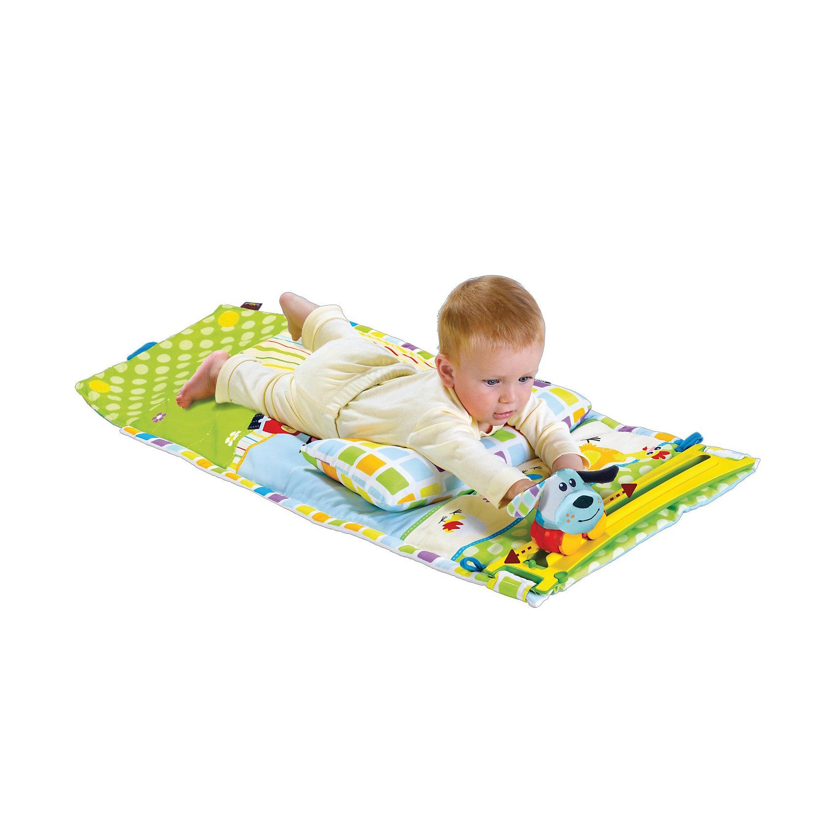 Yookidoo Коврик Маленький спортсменYookidoo Маленький спортсмен - интерактивный развивающий коврик с игрушками и музыкальным сопровождением, который обязательно понравится вашему малышу!<br><br>Коврик прекрасно подходит для детей, которые уже вышли из пеленочного возраста и могут играть как лежа, так и сидя.<br>Во время своих игр малыш сможет постоянно упражняться: и когда играет с мягкими игрушками и машинкой (они входят в комплект), и когда следит за перемещением машинки по дорожке, поворачивая голову и корпус тела вправо-влево! Незаметно для самого себя, малыш развивает и укрепляет мышцы всего своего тела, развивает периферийное зрение.<br><br>Коврик имеет два музыкальных режима, каждый по 10 минут: 1 - для релаксации и 2 - для стимуляции. Также есть бесшумный режим.<br><br><br><br>Дополнительная информация:<br><br>- Предназначен для игры сидя и/или на животе.<br>- В комплект входит: большой мат, съемная дорожка, 2 мягкие игрушки (корова и собака), машинка (на батарейках). <br>- Машинка работает от батареек и двигается по дорожке влево-вправо.<br>- Во время игры можно включить/выключить музыкальное сопровождение.<br>- 2 музыкальных режима:  для расслабления и стимуляции, каждый по 10 минут. <br>- Коврик удобно складывается для транспортировки.<br>- Коврик снабжен большим карманом для мелочей<br>- Выполнен из высококачественных гипоаллергенных материалов, абсолютно безопасных для здоровья малыша.<br>- Разрешена стирка при температуре не  более  30 градусов.<br><br>Ширина мм: 800<br>Глубина мм: 105<br>Высота мм: 510<br>Вес г: 1270<br>Возраст от месяцев: 3<br>Возраст до месяцев: 12<br>Пол: Унисекс<br>Возраст: Детский<br>SKU: 3109935