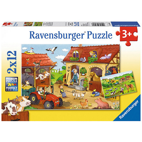 Пазл «Работа на ферме», 2х12 деталей, RavensburgerПазлы для малышей<br>Пазл «Работа на ферме», 2х12 деталей, Ravensburger (Равенсбургер).<br><br>Характеристика:<br><br>• Материал: картон. <br>• Размер упаковки: 19х28х4 см. <br>• Размер готовой картинки: 19х26 см. <br>• Количество деталей: 24 (2 пазла по 12 деталей).<br><br>В этом наборе целых два пазла, которые так интересно собирать! Яркая картинка, красочно изображающая жизнь на ферме, станет отличным украшением детской или же замечательным подарком, сделанным своими руками. Собирание пазлов - увлекательное и полезное занятие, развивающее моторику рук, внимание, усидчивость и образное мышление. <br><br>Пазл «Работа на ферме», 2х12 деталей, Ravensburger (Равенсбургер) можно купить в нашем интернет-магазине.<br>Ширина мм: 280; Глубина мм: 198; Высота мм: 38; Вес г: 289; Возраст от месяцев: 36; Возраст до месяцев: 60; Пол: Унисекс; Возраст: Детский; Количество деталей: 12; SKU: 3109992;