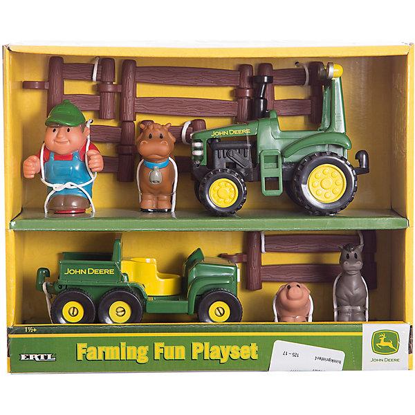 Игровой набор Фермерские забавы, TOMYИгрушечные машинки-каталки<br>Игровой набор Фермерские забавы, TOMY (Томи)<br><br>Характеристики:<br><br>• познакомит ребенка с жизнью на ферме<br>• в комплекте: детали для загона, 3 фигурки животных, фигурка человека, 2 машинки<br>• материал: пластик<br>• размер упаковки: 10х28х23 см<br>• вес: 700 грамм<br><br>Фермерские забавы - набор для веселых игр вашего малыша. Ребенок познакомится с основами жизни на ферме и с радостью придумает интересные сюжеты для игры. В комплекте есть детали для постройки загона, фигурки и машинки. Можно посадить животных в  загон или покатать их на машинках. Игра поможет развить фантазию малыша и, конечно же, подарит массу положительных эмоций.<br><br>Игровой набор Фермерские забавы, TOMY (Томи) вы можете купить в нашем интернет-магазине.<br><br>Ширина мм: 422<br>Глубина мм: 254<br>Высота мм: 254<br>Вес г: 67<br>Возраст от месяцев: 18<br>Возраст до месяцев: 48<br>Пол: Мужской<br>Возраст: Детский<br>SKU: 3127694