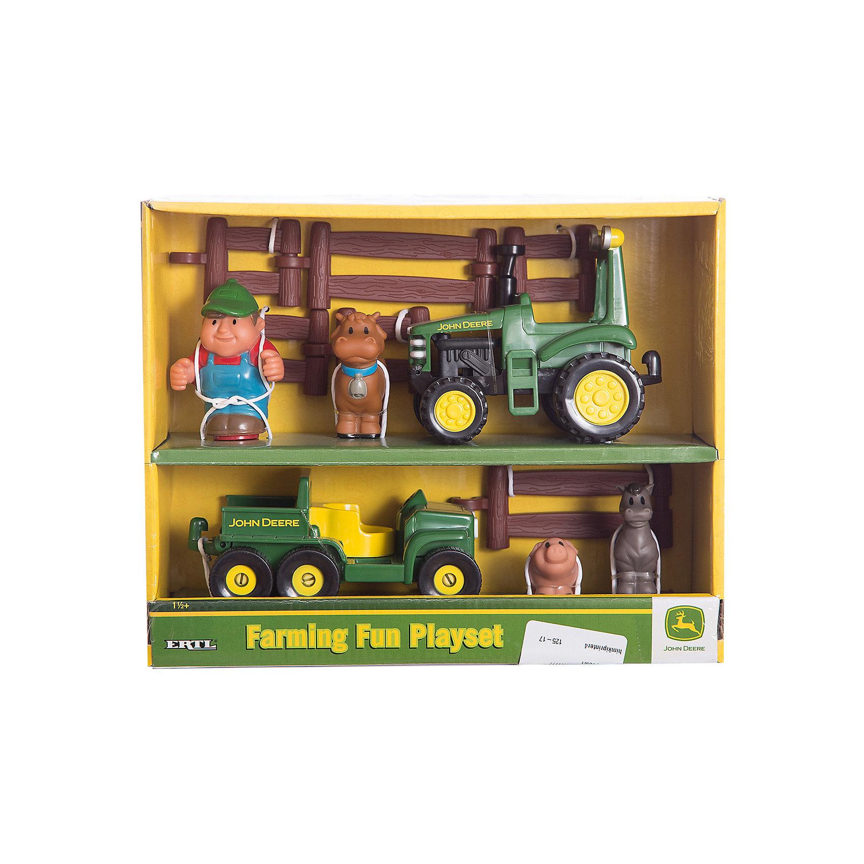 TOMY Игровой набор Фермерские забавы, TOMY tomy farm приключения трактора джонни и поросенка на ферме