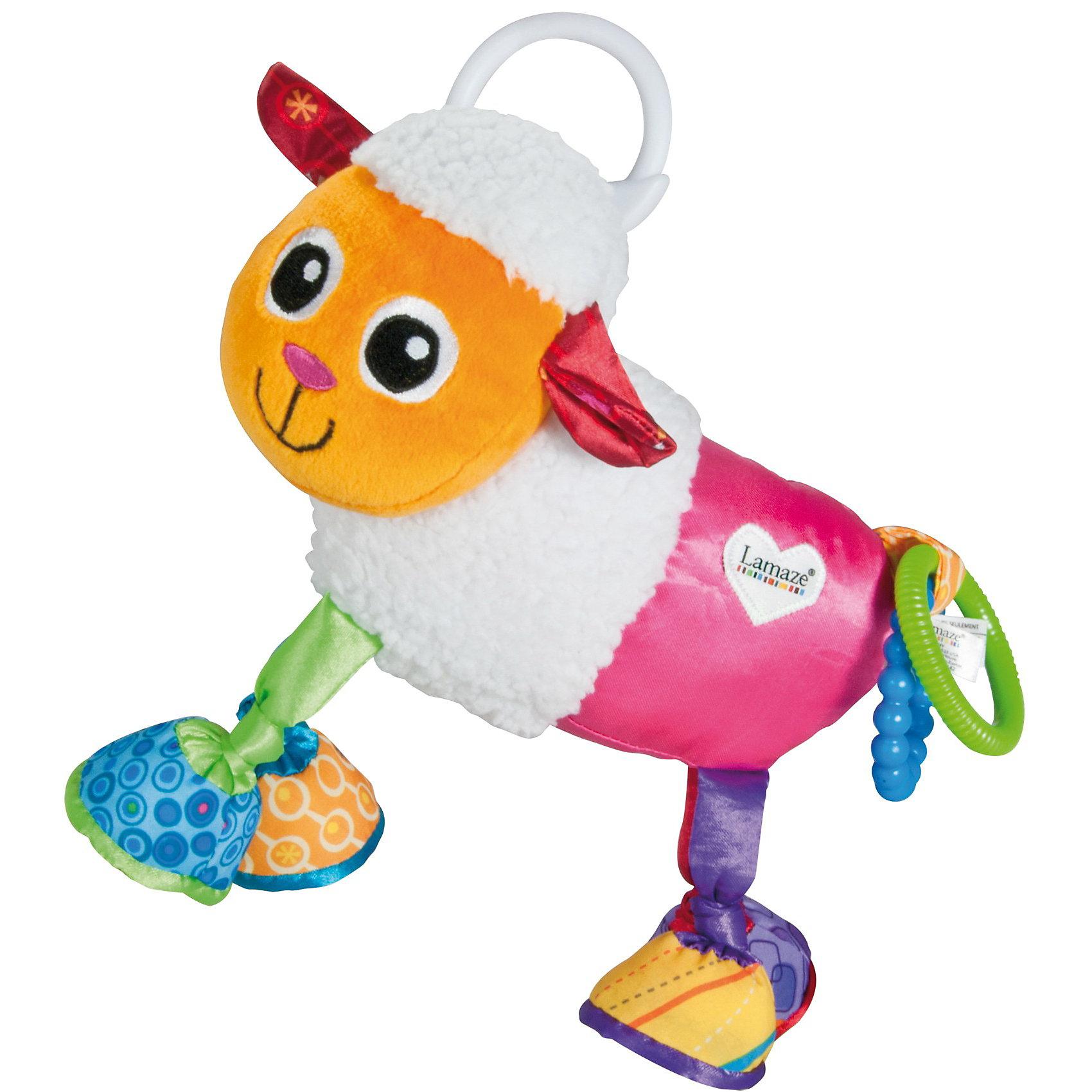 Игрушка-подвеска  Овечка Шереми, LamazeПодвески<br>Игрушка-подвеска Овечка Шереми, Lamaze - замечательная красочная игрушка, которая обязательно привлечет внимание Вашего малыша. Игрушка выполнена в виде симпатичной овечки с мягкими копытцами, легко крепится к детской кроватке, коляске или автокреслу. У игрушки множество разноцветных деталей из мягких материалов различной фактуры, что способствует развитию тактильного и цветового восприятия, тренирует мелкую моторику ребенка. Овечка пищит, гремит и шуршит, к хвостику прикреплена погремушка.<br><br>Дополнительная информация:<br><br>- Материал: текстиль.<br>- Размер: 21,8 x 14,2 x 10,4 см.<br>- Вес: 141 гр.<br><br>Игрушку-подвес Овечка Шереми, Lamaze, можно купить в нашем интернет-магазине.<br><br>Ширина мм: 190<br>Глубина мм: 220<br>Высота мм: 90<br>Вес г: 127<br>Возраст от месяцев: 0<br>Возраст до месяцев: 18<br>Пол: Унисекс<br>Возраст: Детский<br>SKU: 3128225