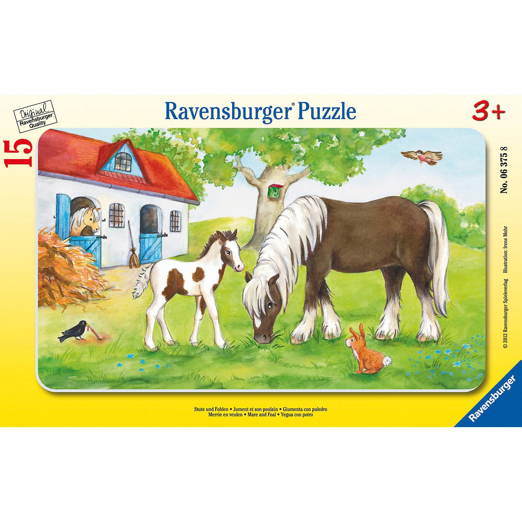 Пазл «Кобыла с жеребенком», 15 деталей, RavensburgerПазл «Кобыла с жеребенком», 15 деталей, Ravensburger (Равенсбургер).<br><br>Характеристика:<br><br>• Материал: картон. <br>• Размер упаковки: 29,5х19 см. <br>• Размер готовой картинки: 25х14,5 см. <br>• Количество деталей: 15.<br><br>Дети обожают собирать пазлы. Это очень интересное и полезное занятие, которое поможет ребенку развить мелкую моторику, внимание, цветовосприятие, усидчивость и образное мышление. Получившаяся яркая картинка станет прекрасным украшением комнаты или же отличным подарком, сделанным своими руками. <br><br>Пазл «Кобыла с жеребенком», 15 деталей, Ravensburger (Равенсбургер), можно купить в нашем интернет-магазине.<br><br>Ширина мм: 299<br>Глубина мм: 190<br>Высота мм: 7<br>Вес г: 163<br>Возраст от месяцев: 36<br>Возраст до месяцев: 60<br>Пол: Унисекс<br>Возраст: Детский<br>Количество деталей: 15<br>SKU: 3136872
