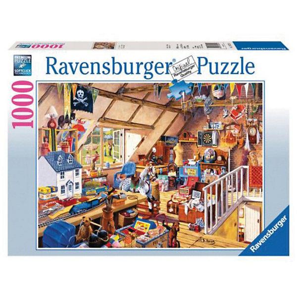 Пазл На чердаке у бабушки Ravensburger, 1000 деталейПазлы до 1000 деталей<br>Сбор пазлов - увлекательный развивающий досуг, за которым особенно здорово проводить время в дождливый и пасмурный день. Пазл из 1000 деталей На чердаке у бабушки от Ravensburger поможет разнообразить свободное время.<br><br>Картинку с изображением большого количества предметов нелегко, но очень интересно собирать. Такой пазл понравится не только детям, но и взрослым.<br><br>Все пазлы немецкой компании Ravensburger славятся высочайшим качеством полиграфии и идеальной стыковкой элементов. Благодаря особому штамповочному оборудованию данный производитель достигает непревзойденного многообразия форм деталей.<br><br>Соберитесь всей семьей за пазлом из 1000 деталей На чердаке у бабушки от Ravensburger!<br><br><br>Дополнительная информация:<br><br>- Количество деталей: 1000 шт.<br>- Картинка: 70 х 50 см<br>Ширина мм: 370; Глубина мм: 55; Высота мм: 270; Вес г: 897; Возраст от месяцев: 96; Возраст до месяцев: 192; Пол: Унисекс; Возраст: Детский; Количество деталей: 1000; SKU: 3136893;