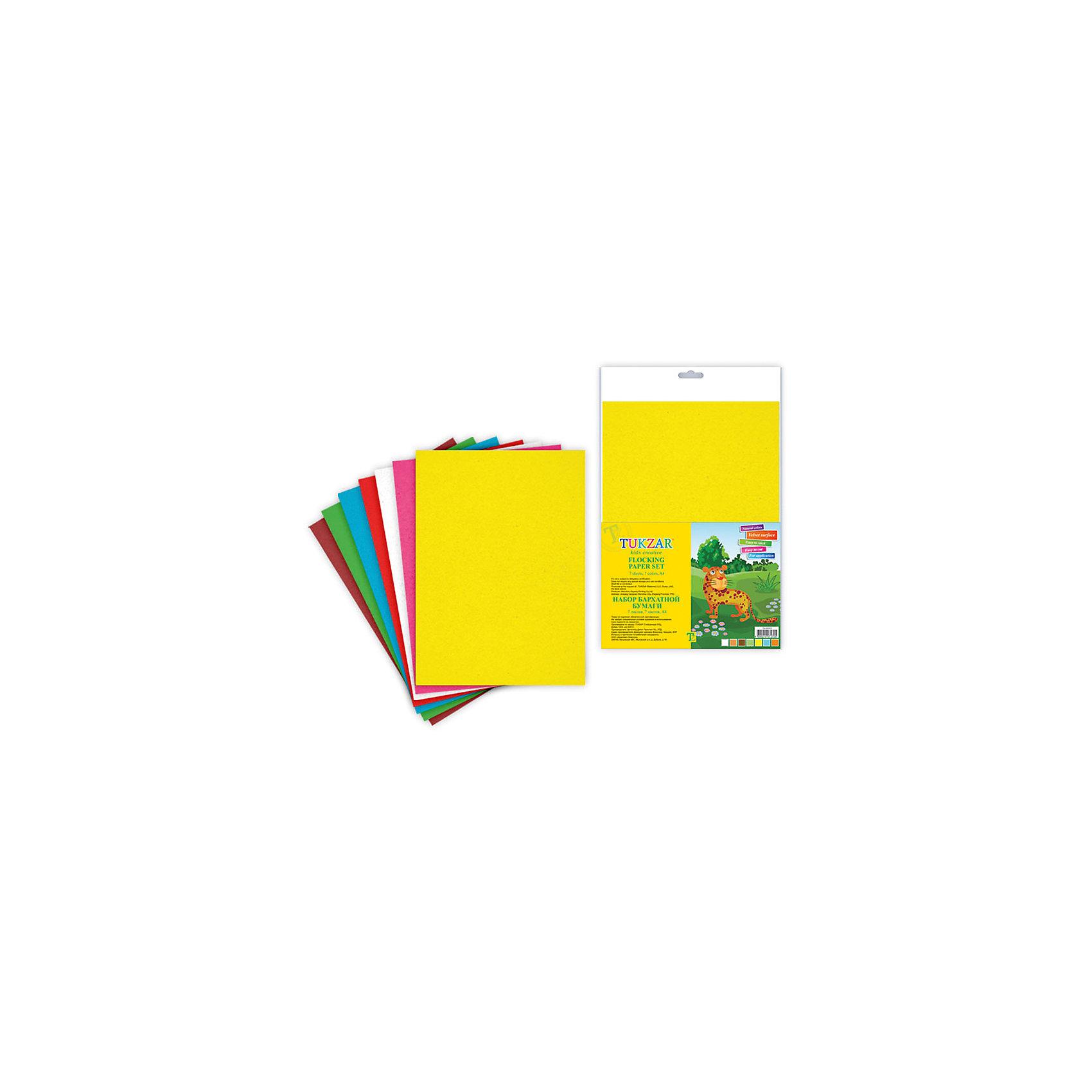 TUKZAR Набор бархатной бумаги, 7 л.Рукоделие<br>В набор включены натуральные цвета: желтый, оранжевый, голубой, зеленый и коричневый.<br>Всего 7 листов формата А4.<br><br>Ширина мм: 340<br>Глубина мм: 235<br>Высота мм: 5<br>Вес г: 90<br>Возраст от месяцев: 36<br>Возраст до месяцев: 144<br>Пол: Унисекс<br>Возраст: Детский<br>SKU: 3137899