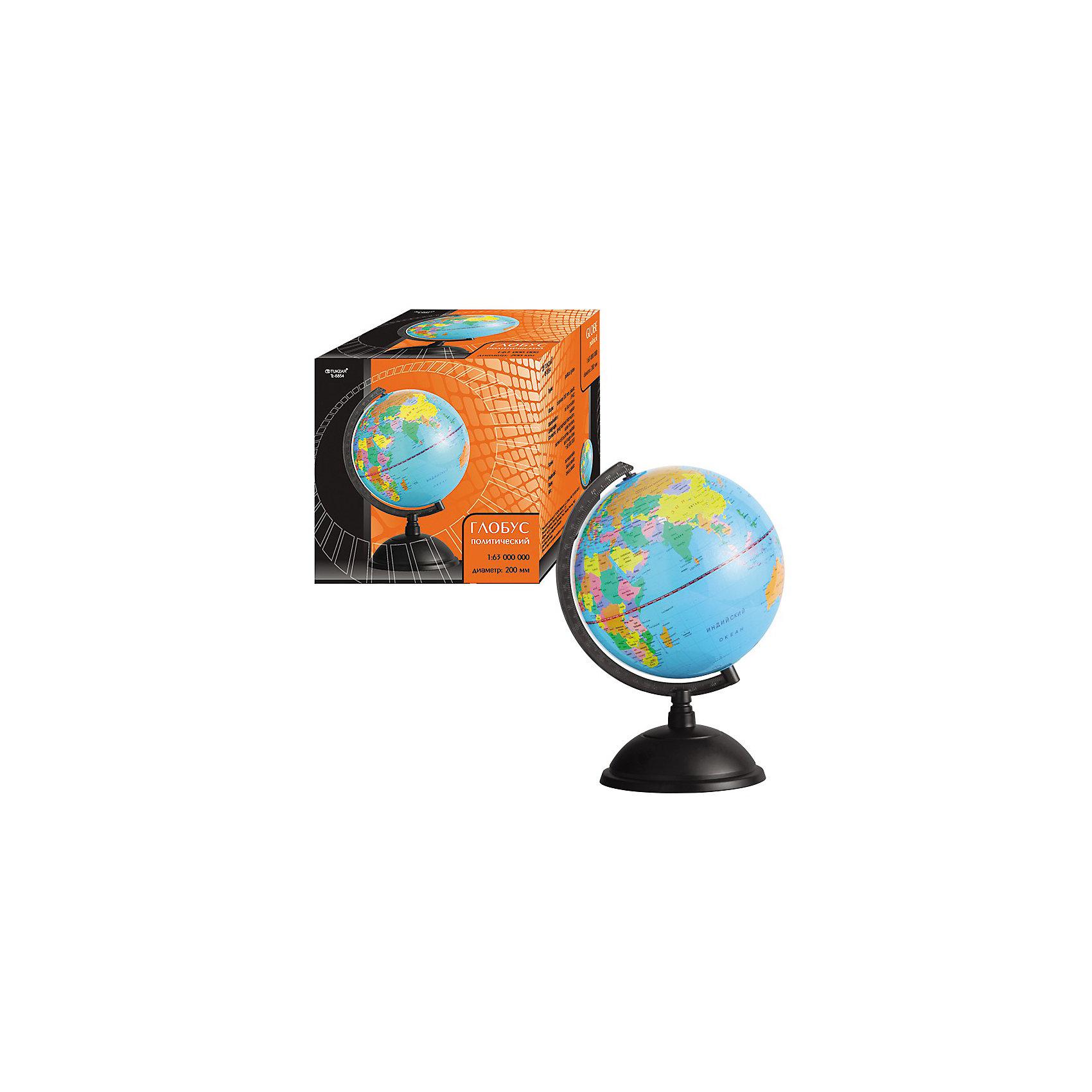 TUKZAR Глобус политический, 20 см.Глобус происходит от латинского слова globus («шар») и представляет собой уменьшенную модель Земли. <br>  Изображение на глобусе нанесено равномерно без искажений и разрывов, как это бывает на картах или в атласах, поэтому на глобусе можно увидеть общее, целостное представление о расположение материков и океанов, стран и городов нашей планеты. <br>  Содержание - границы государств, названия стран, столиц и крупных городов. Карта напечатана на пластике. <br>  Пластиковая подставка черного цвета с черной меридианной дугой. <br>  Язык - русский<br><br>Ширина мм: 280<br>Глубина мм: 260<br>Высота мм: 240<br>Вес г: 688<br>Возраст от месяцев: 36<br>Возраст до месяцев: 144<br>Пол: Унисекс<br>Возраст: Детский<br>SKU: 3137908
