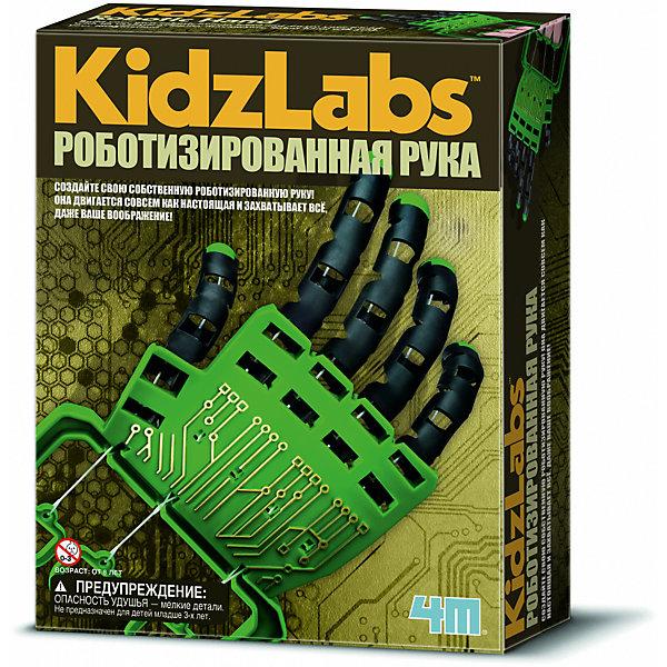 Набор Роботизированная рука, 4МРобототехника и электроника<br>Научно-познавательный набор для юных ученых и исследователей. Стань ученым и сконструируй настоящего робота! Вот это да! Он еще и рисует! Экспериментируй, чтобы узнать, какие шедевры может нарисовать робот — ты удивишься! Набор вызовет огромный интерес у детей к естественным наукам, таким как электротехника и физика.<br><br>Ширина мм: 220<br>Глубина мм: 170<br>Высота мм: 60<br>Вес г: 200<br>Возраст от месяцев: 84<br>Возраст до месяцев: 2147483647<br>Пол: Мужской<br>Возраст: Детский<br>SKU: 3139118