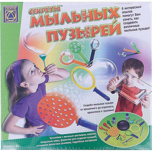 Набор Секреты мыльных пузырей, CreativeХимия и физика<br>Пузыри представляют собой шары воздуха или газа, окруженные твердым материалом или жидкостью. Это означает, что мыльные пузыри - это шары из воды и мыла. Пузырям необходим воздух и молекулы мыла для поддержания объема, а также внутренняя поверхность, обладающая достаточной гибкостью для образования мыльной пленки. Пузыри можно получить, смешав мыло с водой в различных пропорциях.<br><br>Набор предлагает провести шесть занимательных опытов, которые помогут малышу получить ответы на интересующие его вопросы, связанные с мыльными пузырями:<br>- Получение простых мыльных пузырей;<br>- Море пузырей;<br>- Бутылка, надувающая воздушные шары;<br>- Мыльный пузырь из воронки;<br>- Большая стена из мыльной пленки;<br>- Другие способы получения мыльных пузырей.<br><br>Дополнительная информация:<br><br>- Набор содержит все необходимое: пластиковую миску, девять рамок разных размеров и форм, три воздушных шара, воронку, шесть соломок, мыльный раствор и подробную инструкцию на русском языке.<br>- Размер упаковки: 30 х 30 х 60 см<br><br>Секреты мыльных пузырей, Creative можно купить в нашем магазине.<br>Ширина мм: 300; Глубина мм: 300; Высота мм: 60; Вес г: 620; Возраст от месяцев: 72; Возраст до месяцев: 2147483647; Пол: Унисекс; Возраст: Детский; SKU: 3139128;