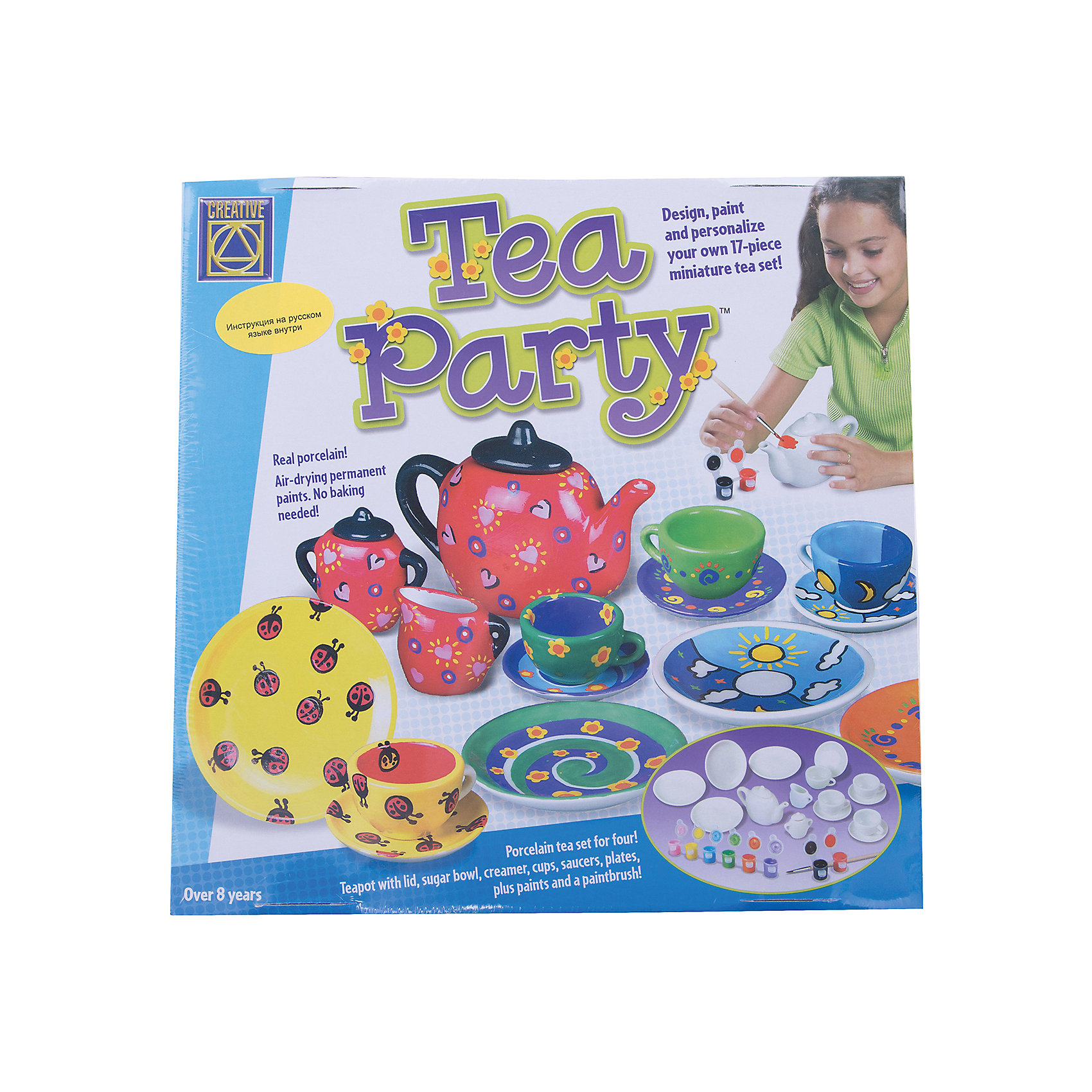 Набор Украшаем чайный сервиз, CreativeНабор для творчества Украшаем чайный сервиз поможет вашему ребенку придумать, создать и раскрасить свою посуду для завтрака. Набор состоит из 12 баночек с краской белого, зеленого, сиреневого, черного, коричневого, синего, салатового, розового, красного, оранжевого, желтого и голубого цветов, сервиза, состоящего из 17 предметов (8 блюдец, четыре чашки, заварник с крышкой, молочник, сахарница с крышкой) и подробной инструкции на русском языке.<br><br>Ширина мм: 300<br>Глубина мм: 300<br>Высота мм: 95<br>Вес г: 1400<br>Возраст от месяцев: 72<br>Возраст до месяцев: 2147483647<br>Пол: Женский<br>Возраст: Детский<br>SKU: 3139129