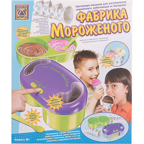 Фабрика мороженого для настоящего мороженого, CreativeНаборы для лепки<br>Набор Фабрика мороженого для приготовления настоящего мороженого непременно понравится вашим детям! Каждый ребенок сможет приготовить настоящее мороженное из кулинарных компонентов по рецептам, прилагающимся к набору, а умная машинка поможет в этом. <br>Набор содержит машинку для изготовления мороженного с двумя круглыми емкостями, две ложечки, меняющие цвета, 10 конусных одноразовых стаканчиков, 135 голографических разноцветных наклеек и подробную инструкцию на русском языке, включающую рецепты.<br><br>Дополнительная информация:<br><br>- Для работы требуются 4 батарейки типа АА (в комплекте нет).<br>- Размер машинки: 22 х 12 х 9,5 см.<br>- Длина ложек: 11 см.<br>- Размер бумажных конусов: 10 х 7 см.<br><br>Набор Фабрика мороженого для настоящего мороженого, Creative можно купить в нашем магазине.<br>Ширина мм: 310; Глубина мм: 255; Высота мм: 170; Вес г: 1500; Возраст от месяцев: 72; Возраст до месяцев: 2147483647; Пол: Женский; Возраст: Детский; SKU: 3139132;
