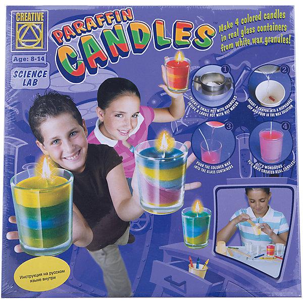 Набор Фабрика свечей, CreativeНаборы для создания свечей<br>Парафиновые свечи.<br>Проделай интереснейшие физические опыты по созданию 4 парафиновых свечей, при этом ты изучишь свойства физических тел при их нагревании и охлаждении.<br>Набор предназначен для детей в возрасте от 8 до 14 лет; количество игроков – 1 и более; время игры ± 60 мин.<br><br>В набор входит:<br>- Кристаллики парафина ?400 г.<br>- 4 стеклянных стаканчика размером ?6,5 см х 5,5 см.<br>- 4 восковых фитиля.<br>- 4 одноразовых стакана из картона.<br>- 2 пластмассовых стаканчика.<br>- 5 деревянных палочек для перемешивания.<br>- 6 пастельных разноцветных карандашей.<br>- Подробные инструкции.<br><br>Ширина мм: 265<br>Глубина мм: 265<br>Высота мм: 65<br>Вес г: 800<br>Возраст от месяцев: 72<br>Возраст до месяцев: 2147483647<br>Пол: Унисекс<br>Возраст: Детский<br>SKU: 3139149