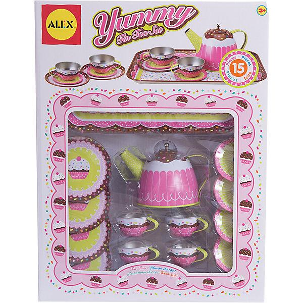 ALEX 703 W Набор посуды для чаепития ЯммиДетские кухни<br>ALEX 703 W Набор посуды для чаепития Ямми от ALEX (Алекс) это  большой детский набор для чаепития. Теперь чаепитие с куклами доставит большое удовольствие Вашей дочке. <br>Металлический набор посуды включает 15 предметов:<br>- заварочный чайник с крышкой;<br>- 4 чайных чашечек с блюдцами;<br>- 4 тарелочки;<br>- поднос.<br><br>Дополнительная информация:<br>- Материал: металл<br>- Размеры упаковки: 40,6х9х30,5 см<br>- Вес: 530 г.<br><br>Набор посуды для чаепития Ямми станет замечательным подарком для Вашего ребенка.<br><br>ALEX 703 W Набор посуды для чаепития Ямми можно купить в нашем интернет-магазине.<br><br>Ширина мм: 280<br>Глубина мм: 340<br>Высота мм: 20<br>Вес г: 360<br>Возраст от месяцев: 24<br>Возраст до месяцев: 84<br>Пол: Женский<br>Возраст: Детский<br>SKU: 3139468