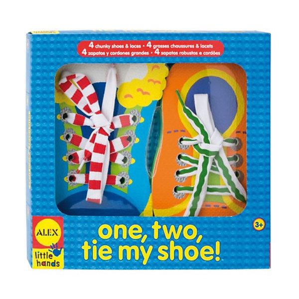 ALEX Набор Завяжи шнуркиШнуровки<br>Набор  Завяжи шнурки   Веселая развивающая игра для малышей. <br>Помогает развить мелкую моторику и научить ребенка завязывать шнурки. <br>В наборе: 4 игрушечных ботинка из полимерных материалов с отверстиями для шнуровки, 4 ярких шнурка.<br>Ширина мм: 220; Глубина мм: 380; Высота мм: 30; Вес г: 420; Возраст от месяцев: 36; Возраст до месяцев: 84; Пол: Унисекс; Возраст: Детский; SKU: 3139496;