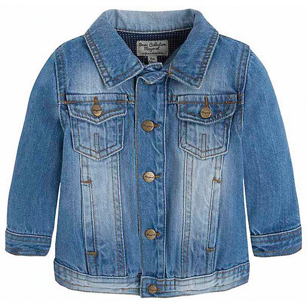 Куртка джинсовая для мальчика MayoralВерхняя одежда<br>Характеристики товара:<br><br>• цвет: синий<br>• состав: 97% хлопок, 3% эластан<br>• отложной воротник<br>• карманы<br>• застежка: пуговицы<br>• эффект потертостей<br>• страна бренда: Испания<br><br>Джинсовая куртка для мальчика может стать базовой вещью в гардеробе ребенка. Она отлично сочетается с майками, футболками, рубашками и т.д. Универсальный крой и цвет позволяет подобрать к вещи низ разных расцветок. Практичное и стильное изделие! В составе материала - натуральный хлопок, гипоаллергенный, приятный на ощупь, дышащий.<br><br>Одежда, обувь и аксессуары от испанского бренда Mayoral полюбились детям и взрослым по всему миру. Модели этой марки - стильные и удобные. Для их производства используются только безопасные, качественные материалы и фурнитура. Порадуйте ребенка модными и красивыми вещами от Mayoral! <br><br>Куртку для мальчика от испанского бренда Mayoral (Майорал) можно купить в нашем интернет-магазине.<br>Ширина мм: 356; Глубина мм: 10; Высота мм: 245; Вес г: 519; Цвет: синий; Возраст от месяцев: 12; Возраст до месяцев: 15; Пол: Мужской; Возраст: Детский; Размер: 80,74,86,92; SKU: 3143060;
