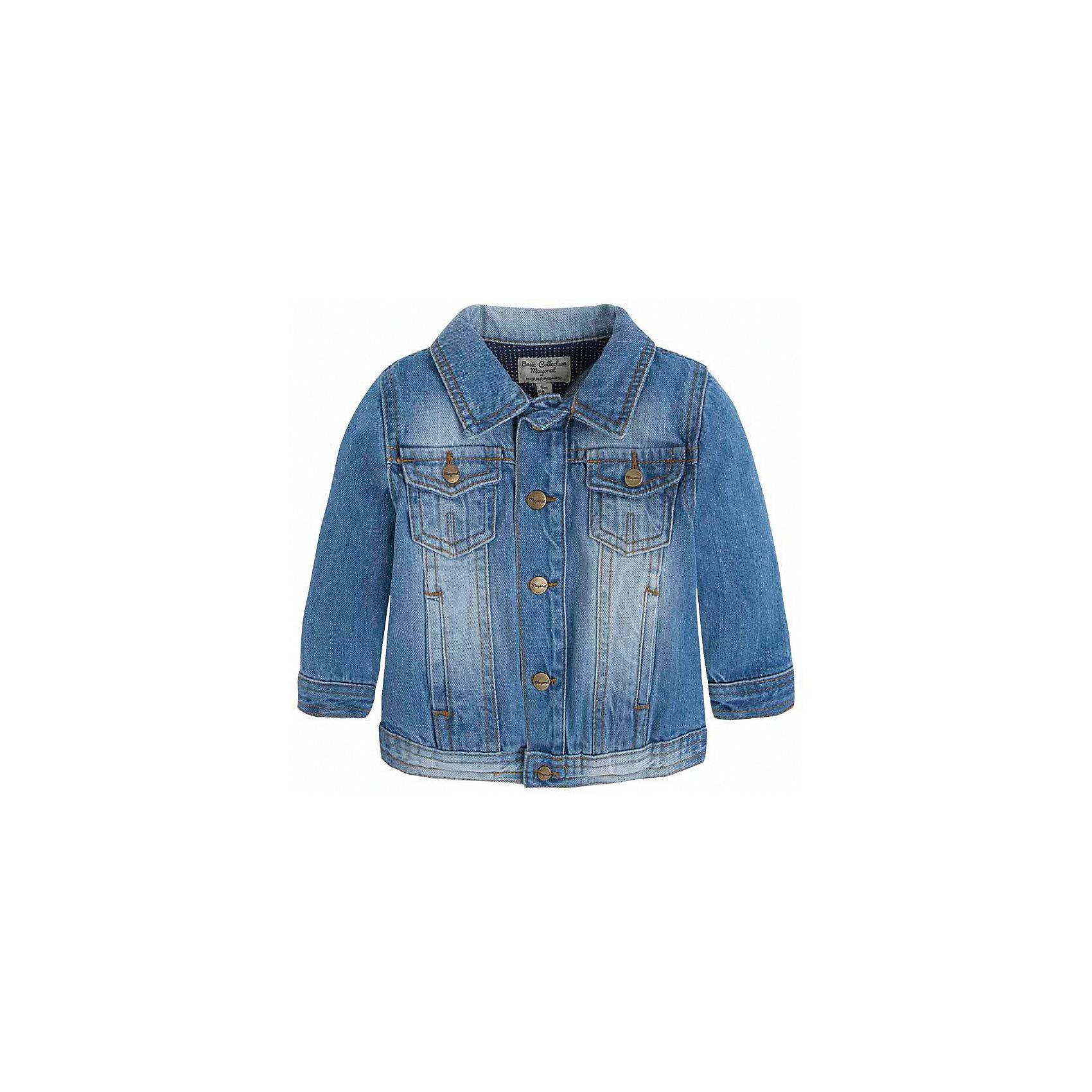 Куртка джинсовая для мальчика MayoralВерхняя одежда<br>Характеристики товара:<br><br>• цвет: синий<br>• состав: 97% хлопок, 3% эластан<br>• отложной воротник<br>• карманы<br>• застежка: пуговицы<br>• эффект потертостей<br>• страна бренда: Испания<br><br>Джинсовая куртка для мальчика может стать базовой вещью в гардеробе ребенка. Она отлично сочетается с майками, футболками, рубашками и т.д. Универсальный крой и цвет позволяет подобрать к вещи низ разных расцветок. Практичное и стильное изделие! В составе материала - натуральный хлопок, гипоаллергенный, приятный на ощупь, дышащий.<br><br>Одежда, обувь и аксессуары от испанского бренда Mayoral полюбились детям и взрослым по всему миру. Модели этой марки - стильные и удобные. Для их производства используются только безопасные, качественные материалы и фурнитура. Порадуйте ребенка модными и красивыми вещами от Mayoral! <br><br>Куртку для мальчика от испанского бренда Mayoral (Майорал) можно купить в нашем интернет-магазине.<br><br>Ширина мм: 356<br>Глубина мм: 10<br>Высота мм: 245<br>Вес г: 519<br>Цвет: синий<br>Возраст от месяцев: 12<br>Возраст до месяцев: 18<br>Пол: Мужской<br>Возраст: Детский<br>Размер: 74,92,80,86<br>SKU: 3143060