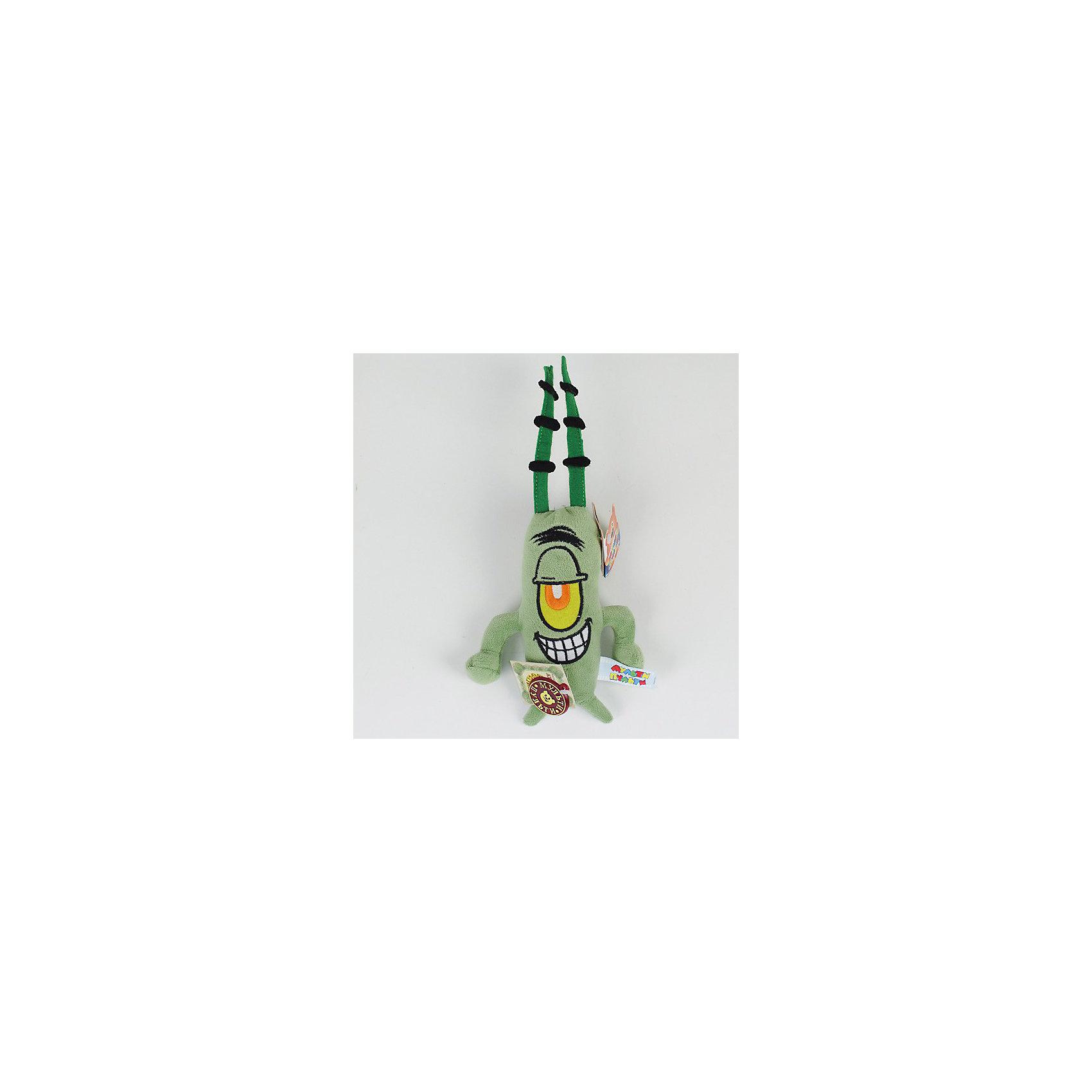 Мягкая игрушка  Планктон, звук, 19 см, Губка Боб, МУЛЬТИ-ПУЛЬТИЛюбимые герои<br>Мягкая игрушка на присоске Планктон от Мульти-Пульти позабавит как ребенка так и взрослого. Планктон – персонаж мультфильмов про Губку Боба, забавное и вредное существо, строящее козни главным персонажам мультфильма. Игрушка озвучена, если нажать на нее, можно услышать фразы из мультфильма.<br><br>Дополнительная информация:<br><br>- Материал: плюш, текстиль, синтепон.<br>- Требуются батарейки: 3* LR44 (входят в комплект).<br>- Размер: 19 см.<br>- Размер упаковки: 17 х 31 х 5,5 см.<br>- Вес: 0,08 кг. <br><br>Мягкую игрушку Планктон (Губка Боб) от Мульти-Пульти можно купить в нашем магазине.<br><br>Ширина мм: 114<br>Глубина мм: 114<br>Высота мм: 190<br>Вес г: 52<br>Возраст от месяцев: 18<br>Возраст до месяцев: 144<br>Пол: Унисекс<br>Возраст: Детский<br>SKU: 3143904