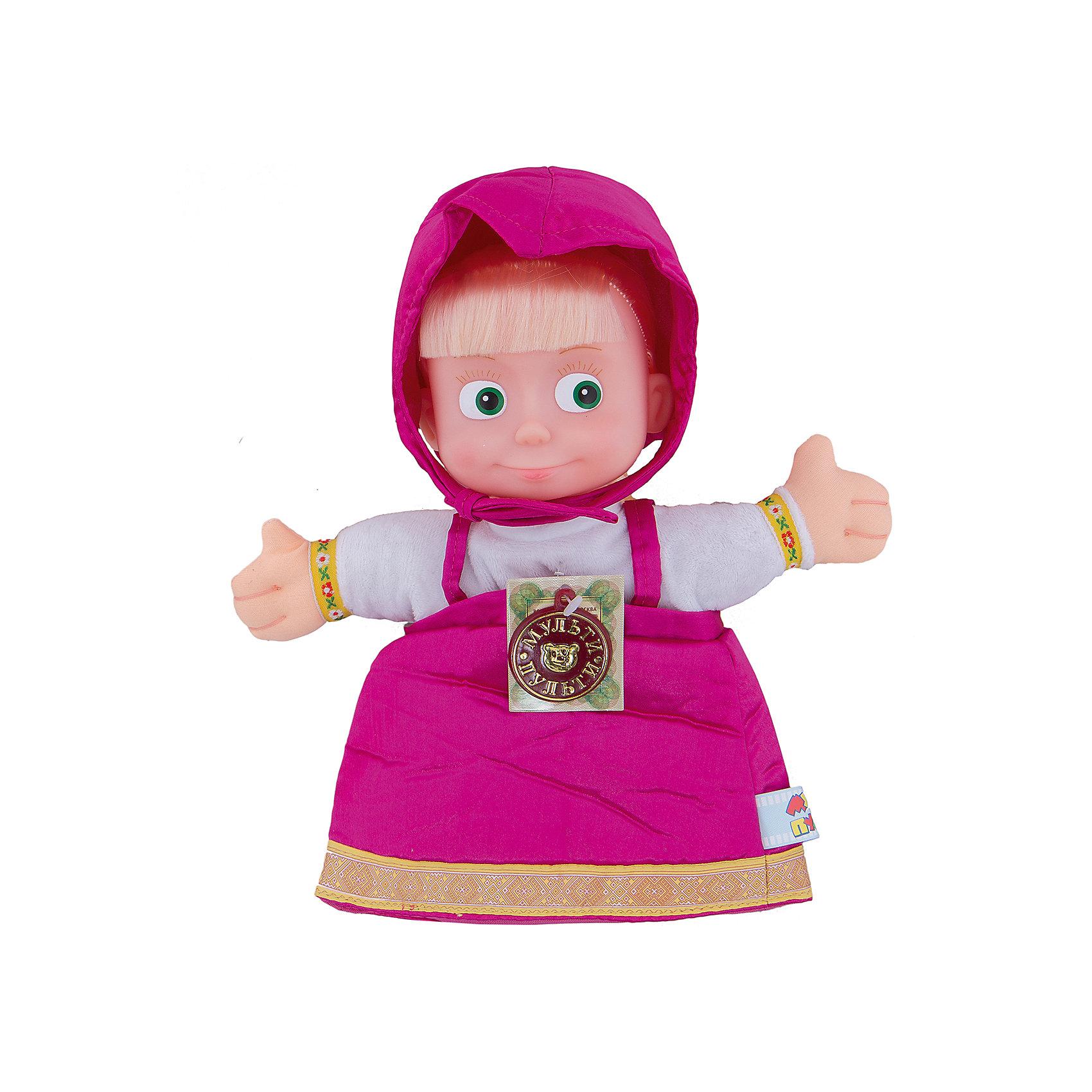 Кукла на руку Маша, 27 см, Маша и Медведь, МУЛЬТИ-ПУЛЬТИИгрушки<br>С куклой на руку Маша Ваш ребенок сможет разыгрывать сценки из любимого мультфильма Маша и Медведь и устраивать с друзьями домашние спектакли.<br><br>У непоседы Маши - озорные зеленые глаза, золотистые волосы и длинная коса. Маша одета в красивый розовый сарафан и белую рубашку. На голове - косынка в тон, которую можно снять. Голова куклы выполнена из пластика, а туловище из ткани.<br> <br>Такая игрушка способствует развитию мелкой моторики рук, воображения и фантазии ребенка.<br><br>С Машей Вы и Ваш ребенок сможете устроить дома настоящий театр!<br><br>Дополнительная информация:<br><br>- Игрушка на руку<br>- Высота игрушки: 27 см<br>- Материал: пластмасса, текстиль<br><br>Куклу на руку Маша от Маша и Медведь можно купить в нашем интернет-магазине.<br><br>Ширина мм: 162<br>Глубина мм: 162<br>Высота мм: 270<br>Вес г: 63<br>Возраст от месяцев: 18<br>Возраст до месяцев: 144<br>Пол: Унисекс<br>Возраст: Детский<br>SKU: 3143926