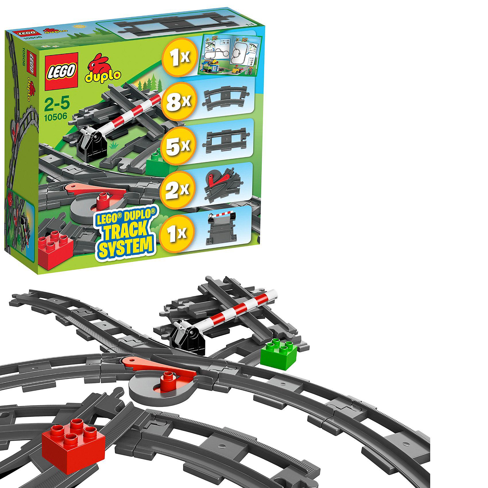 LEGO DUPLO 10506: Дополнительные элементы для поездаLEGO DUPLO 10506: Дополнительные элементы для поезда - необходимый набор для расширения железной дороги. С этим набором Ваш поезд поедет дальше!<br><br>Набор содержит 8 изогнутых рельсов, 2 набора стрелок и рельсовую крестовину для создания множества комбинаций путей. <br><br>Благодаря разнообразным основным и декорированным кубикам DUPLO, набор дополнительных элементов для поезда является прекрасным дополнением к любой коллекции поездов DUPLO.<br><br>Дополнительная информация:<br><br>- В конструктор входят: 8 изогнутых рельсов, 5 прямых, 2 стрелки и железнодорожный переезд.<br>- Совместимы с поездами DUPLO.<br>- Артикул LEGO № 10506.<br>- Количество деталей LEGO: 24 шт.<br><br>LEGO DUPLO 10506: Дополнительные элементы для поезда можно купить в нашем интернет-магазине.<br><br>Ширина мм: 285<br>Глубина мм: 261<br>Высота мм: 99<br>Вес г: 659<br>Возраст от месяцев: 24<br>Возраст до месяцев: 60<br>Пол: Мужской<br>Возраст: Детский<br>SKU: 3145435
