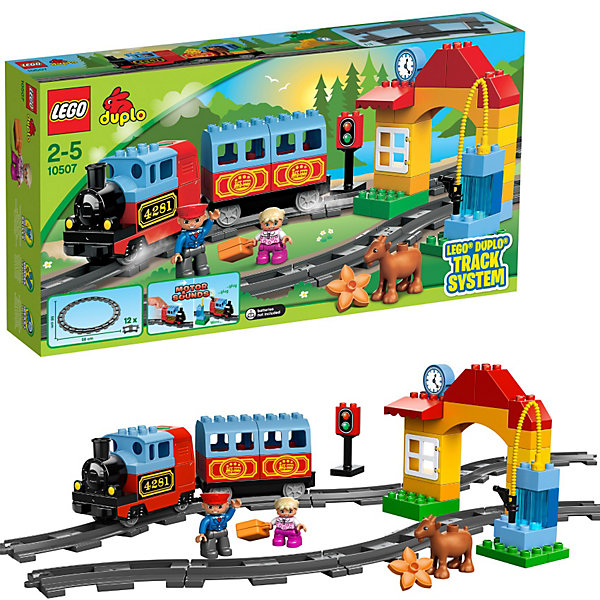 LEGO DUPLO 10507: Мой первый поездИдеи подарков<br>Характеристики:<br><br>• Предназначение: набор для конструирования, сюжетно-ролевые игры<br>• Пол: универсальный<br>• Материал: пластик<br>• Цвет: голубой, красный, желтый, серый, зеленый<br>• Серия LEGO: DUPLO<br>• Размер упаковки (Д*Ш*В): 9,1*28,2*54 см<br>• Вес: 1 кг 240 г<br>• Количество деталей: 52 шт.<br>• Комплектация: детали для паровозика с одним вагончиком, арка с окошком кассы для продажи билетов, часы, светофор, заправочный блок, рельсы, мини-фигурки машиниста и пассажира, лошади<br>• Поезд оснащен звуковыми эффектами<br>• Рельсы протяженностью 55 см<br>• Батарейки: 3 шт. типа АА (в комплект не входят)<br><br><br>LEGO DUPLO 10507: Мой первый поезд набор от всемирно известного производителя конструкторов для детей всех возрастных категорий. LEGO DUPLO 10507: Мой первый поезд является базовым набором железнодорожной тематики. Элементы конструктора позволяют собрать железнодорожную станцию со всеми атрибутами: вокзал, касса, светофор, паровозик с вагончиком. Паровозик оснащен звуковыми эффектами. В наборе имеются фигурки машиниста поезда и пассажира. В комплекте предусмотрена яркая инструкция, которая научит вашего ребенка действовать по образцу. Все детали конструктора крупные, не имеют острых углов и мелких деталей, поэтому производитель рекомендует набор для детей от 1,5 лет.<br>Игры с конструкторами LEGO развивают усидчивость, внимательность, мелкую моторику рук, способствуют формированию инженерного мышления. С набором LEGO DUPLO 10507: Мой первый поезд ваш ребенок сможет придумывать целые приключенческие истории, развивая тем самым воображение и обогащая свой словарный запас. <br><br>LEGO DUPLO 10507: Мой первый поезд можно купить в нашем интернет-магазине.<br>Ширина мм: 542; Глубина мм: 281; Высота мм: 93; Вес г: 1251; Возраст от месяцев: 24; Возраст до месяцев: 60; Пол: Мужской; Возраст: Детский; SKU: 3145436;