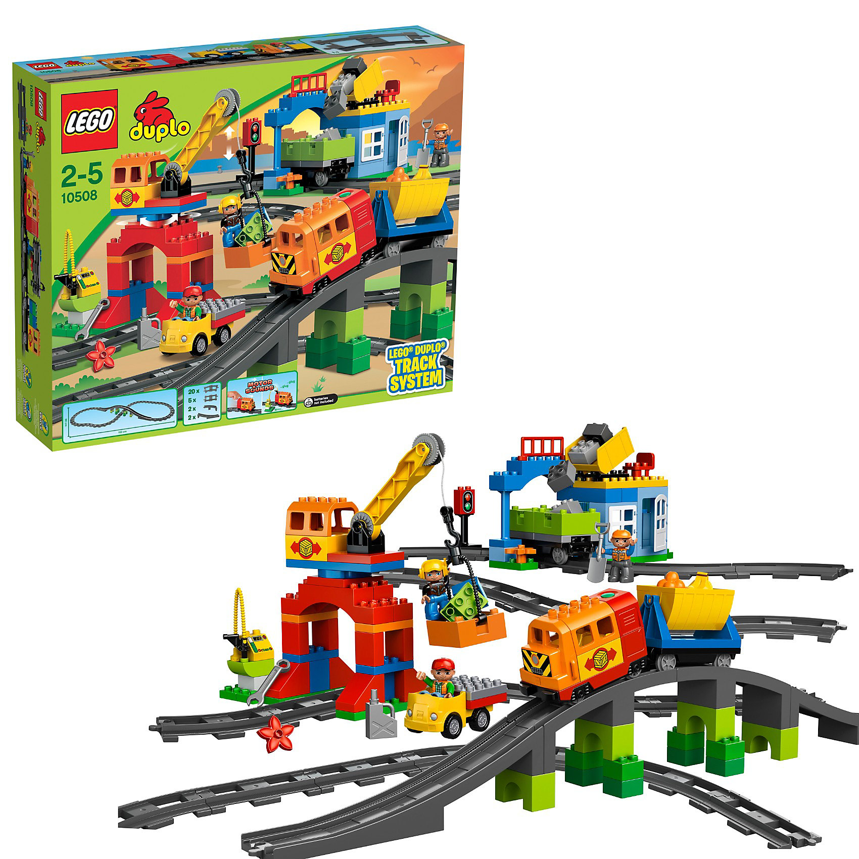 LEGO DUPLO 10508: Большой поездХарактеристики:<br><br>• Предназначение: набор для конструирования, сюжетно-ролевые игры<br>• Пол: универсальный<br>• Материал: пластик<br>• Цвет: голубой, красный, желтый, серый, зеленый<br>• Серия LEGO: DUPLO<br>• Размер упаковки (Д*Ш*В): 15*52*61 см<br>• Вес: 3 кг 450 г<br>• Количество деталей: 134 шт.<br>• Комплектация: детали для локомотива с грузовыми вагончиками, подъемный кран, мост, туннель, заправочный блок, грузовик, мини-фигурки машиниста и рабочих, светофор, карьер<br>• Поезд оснащен звуковыми эффектами<br>• Рельсы протяженностью 163 см<br>• Батарейки: 3 шт. типа АА (в комплект не входят)<br><br><br>LEGO DUPLO 10508: Большой поезд набор от всемирно известного производителя конструкторов для детей всех возрастных категорий. LEGO DUPLO 10508: Большой поезд является не только базовым набором железнодорожной тематики, но и может быть в качестве дополнения к набору LEGO DUPLO 10507: Мой первый поезд. Элементы конструктора позволяют собрать все атрибуты грузовой железнодорожной станции: карьер, подъемный кран, заправочный блок, грузовик и др. Паровозик оснащен звуковыми эффектами. В наборе имеются фигурки машиниста поезда и работников карьера. В комплекте предусмотрена яркая инструкция, которая научит вашего ребенка действовать по образцу. Все детали конструктора крупные, не имеют острых углов и мелких деталей, поэтому производитель рекомендует набор для детей от 1,5 лет.<br>Игры с конструкторами LEGO развивают усидчивость, внимательность, мелкую моторику рук, способствуют формированию инженерного мышления. С набором LEGO DUPLO 10508: Большой поезд ваш ребенок сможет придумывать целые сюжетные истории, развивая тем самым воображение и обогащая свой словарный запас. <br><br>LEGO DUPLO 10508: Большой поезд можно купить в нашем интернет-магазине.<br><br>Ширина мм: 583<br>Глубина мм: 477<br>Высота мм: 132<br>Вес г: 3134<br>Возраст от месяцев: 24<br>Возраст до месяцев: 60<br>Пол: Мужской<br>Возраст: Детский<br>SKU: 3145437