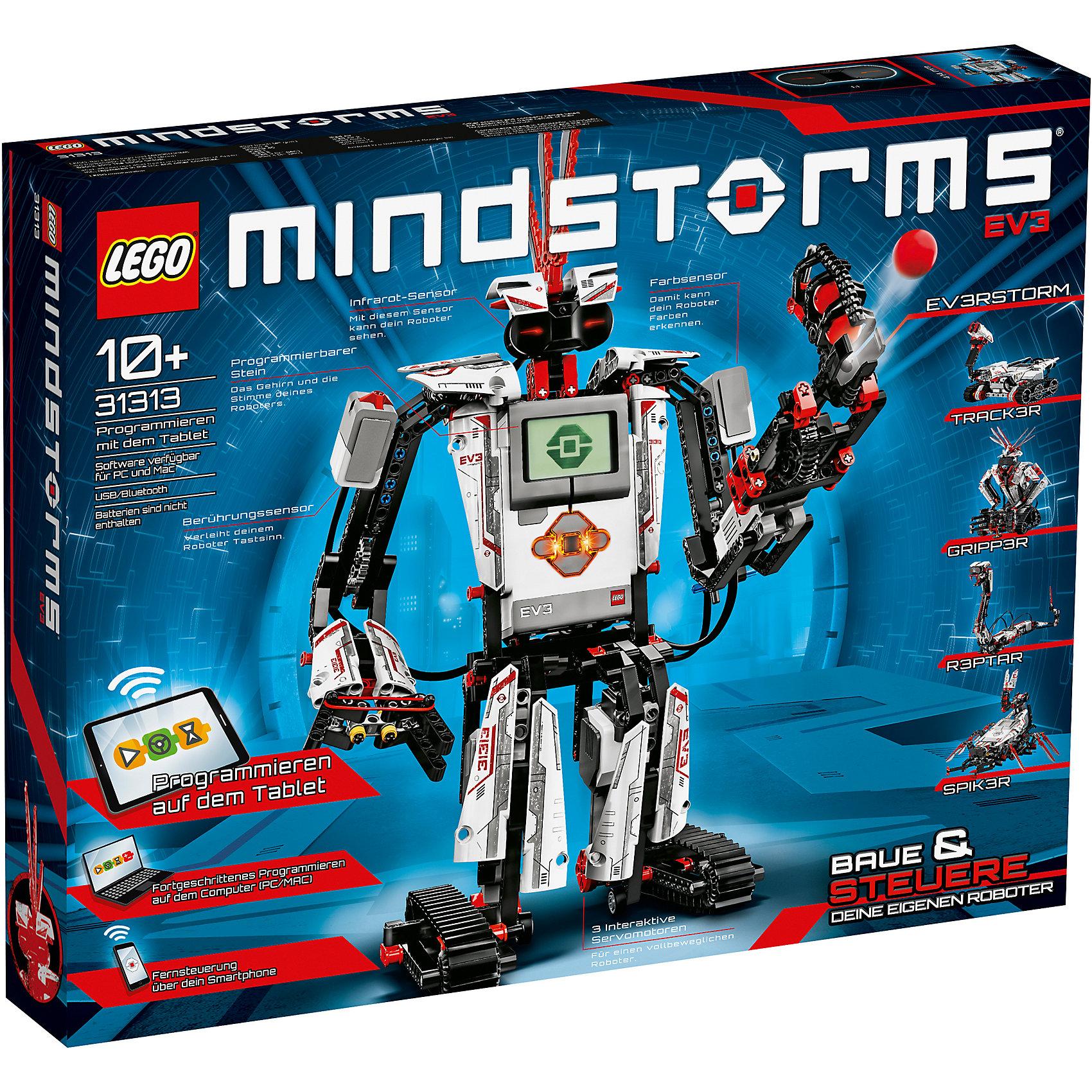 LEGO Mindstorms 31313: Набор EV3Пластмассовые конструкторы<br>Характеристики:<br><br>• Предназначение: набор для конструирования, программирования<br>• Пол: универсальный<br>• Материал: пластик<br>• Цвет: серый, белый, черный, красный<br>• Серия LEGO: Mindstorms<br>• Размер упаковки (Д*Ш*В): 48*7*37,6 см<br>• Вес: 1 кг 750 г<br>• Количество деталей: 601 шт.<br>• Наличие световых, звуковых эффектов<br>• Комплектация: детали сборки робота (5 вариантов), датчики движения, касания, звука, света, дисплейи др.<br>• Батарейки: 2 шт. PCS AAA + 6 шт. PCS AA (не предусмотрены в комплекте)<br>• Процессор, ARM9 <br>• FLASH память: 6 мегабай<br>• Оперативная память: 64 мегабайт<br>• Операционная система: Linux<br>• Слот расширения: SD<br>• USB 2.0<br>• Bluetooth 2.1<br>• 8 портов: 4 на вход, 4 на выход<br><br>LEGO Mindstorms 31313: Набор EV3 – набор от всемирно известного производителя конструкторов для детей всех возрастных категорий. LEGO Mindstorms 31313: Набор EV3 является флагманским набором предназначенным не только для развлечения, но и обучения. Комплектация набора позволяет конструировать 5 моделей роботов с множеством функциональных возможностей. Особенностью набора является усовершенствованный модуль программирования. Этот набор позволит в увлекательной игровой форме освоить базовые навыки конструирования и программирования. Управление роботом осуществляется с помощью дистанционного управления или с помощью бесплатного программного обеспечения, которое можно загрузить на планшет или смартфон.<br>Игры с конструкторами LEGO развивают усидчивость, внимательность, мелкую моторику рук, способствуют формированию конструкторского мышления. <br><br>LEGO Mindstorms 31313: Набор EV3 можно купить в нашем интернет-магазине.<br><br>Ширина мм: 510<br>Глубина мм: 393<br>Высота мм: 89<br>Вес г: 2284<br>Возраст от месяцев: 120<br>Возраст до месяцев: 192<br>Пол: Мужской<br>Возраст: Детский<br>SKU: 3145525