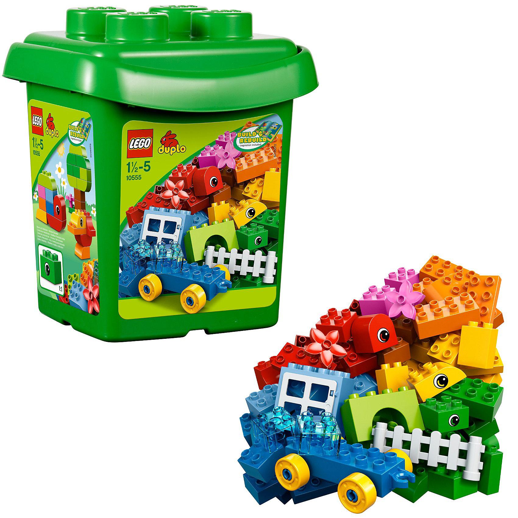 LEGO DUPLO 10555: Набор для творчестваБесконечные возможности для конструирования! Набор для творчества LEGO® DUPLO®– это прекрасный набор, который вдохновит вашего ребёнка сделать первые шаги в конструировании или дополнит любой набор LEGO® DUPLO®. Этот набор для начинающих, который содержит 65 элементов, в том числе базовый кузов, кубики с нарисованными глазками, окно, забор, цветы, а также буклет с идеями для строительства, поможет вашему малышу создать мир машин, животных и фигур. Используйте прочную коробку многоразового применения для хранения или во время поездки!<br><br>- Артикул LEGO: 10555<br>- Количество деталей: 65<br><br>Ширина мм: 221<br>Глубина мм: 210<br>Высота мм: 264<br>Вес г: 892<br>Возраст от месяцев: 18<br>Возраст до месяцев: 60<br>Пол: Унисекс<br>Возраст: Детский<br>SKU: 3145530