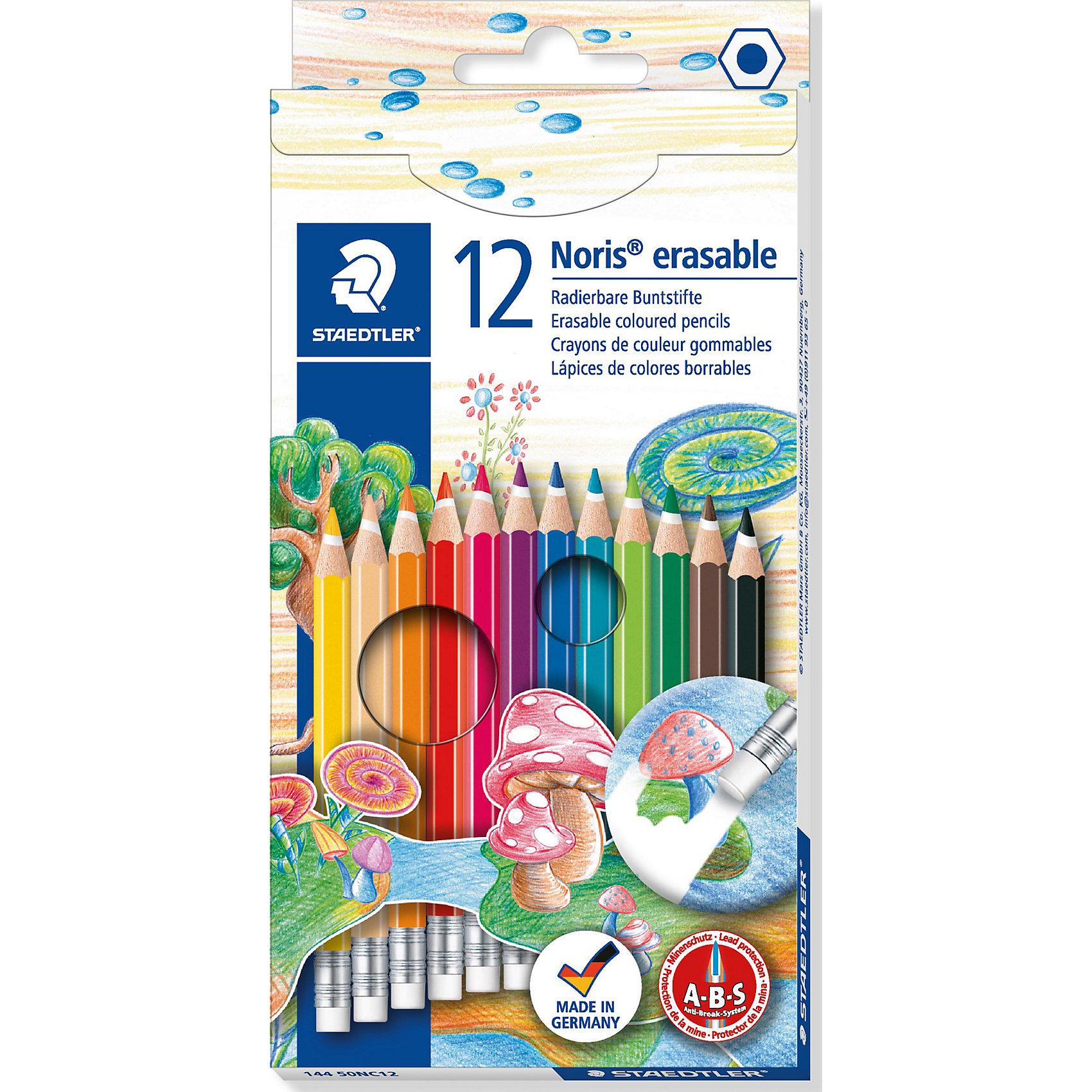 Цветные карандаши NorisClub, 12 цв.Рисование<br>Набор цветных карандашей Noris Club классической шестигранной формы с ластиком.  Небольшие ошибки могут быть мгновенно исправлены с помощью ластика без ПВХ. Картонная коробка. Содержит 12 цветов. A-B-C - белое защитное покрытие для укрепления грифеля и для защиты от поломки. Очень мягкий и яркий грифель. При призводстве используется древесина сертифицированных и  специально подготовленных лесов.<br><br>Ширина мм: 196<br>Глубина мм: 96<br>Высота мм: 10<br>Вес г: 81<br>Возраст от месяцев: 72<br>Возраст до месяцев: 1188<br>Пол: Унисекс<br>Возраст: Детский<br>SKU: 3150955