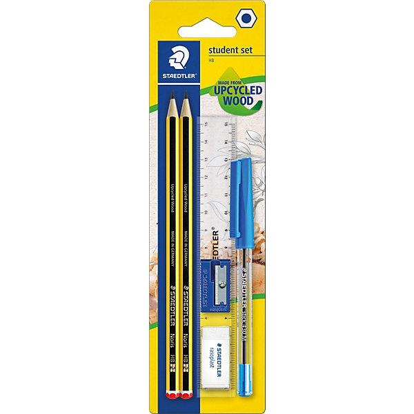 Staedtler Набор: карандаши Noris 120 (2шт), ластик, точилка, линейка, ручкаЧернографитные<br>Классический высококачественный шестигранный заточенный карандаш;<br>Идеален для школы и работы в офисе;<br>Карандаши Noris, имеют особый, ударостойкий грифель, который не ломается при нажиме, падении или ударе; <br>Карандаши имеют специальное лакированное покрытие; <br>Карандаши Noris являются  PEFC сертифицированными и изготовлены из древесины управляемых лесов.<br>Диаметр грифеля: 2 мм.<br>В комплекте: карандаши + 4 предмета (линейка, точилка, шариковая ручка, ластик).<br>Ширина мм: 235; Глубина мм: 66; Высота мм: 18; Вес г: 45; Возраст от месяцев: 72; Возраст до месяцев: 1188; Пол: Унисекс; Возраст: Детский; SKU: 3150957;