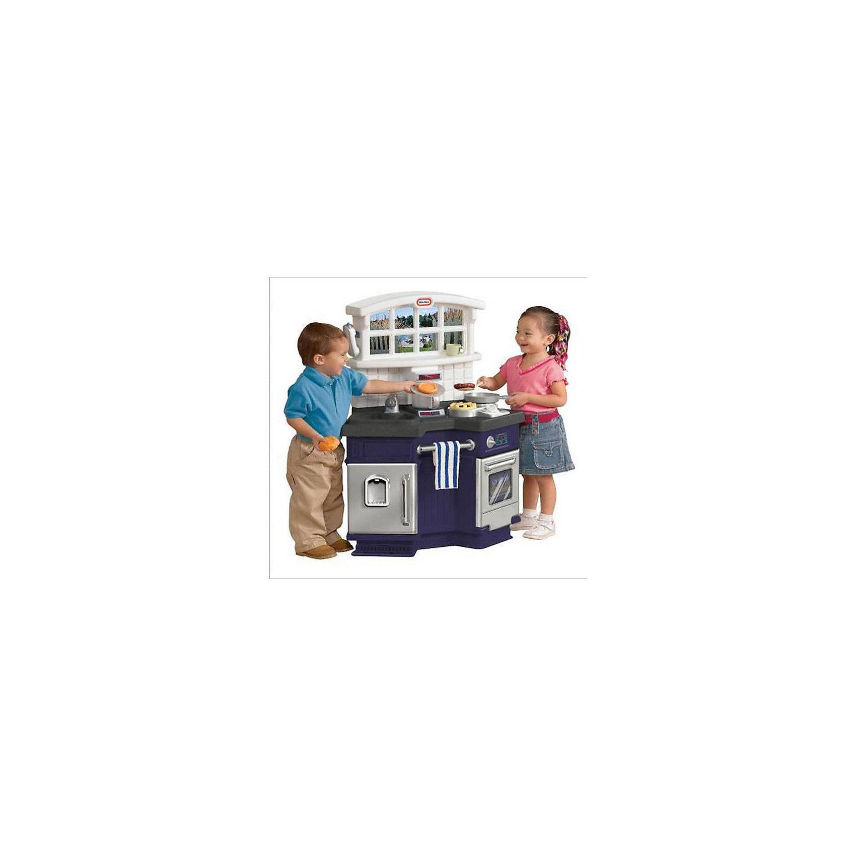 Кухня (со звуком), Little TikesДетские кухни<br>Стильная игровая кухня от Little Tikes (Литл Тайкс) непременно порадует  юных хозяюшек!<br><br>Кухня с необычным угловым дизайном включает в себя все компоненты взрослой кухни: плита с конфорками и духовкой; вешалка с полотенцем; холодильник; раковина с водопроводным краном; гранитная столешница над которой окно с постером вид на улицу. <br><br>При включении плиты слышны звуки готовящейся еды, при включении водопроводного крана - шум воды.<br><br>В комплекте также 18 аксессуаров для кухни (в виде посуды, столовых приборов и муляжей продуктов) и телефон со звуками.<br>Кухня изготовлена из высококачественных материалов с высокой прочностью.  <br><br>Дополнительная информация:<br><br>-Требуются батарейки: 2*AA (в комплект не входят).<br>-Материал: пластмасса.<br>-Размеры кухни: 76 x 27 х 56 см. <br>-Вес: 8,12 кг.<br><br>С такой кухней Ваш малыш будет занят надолго, готовя вкусные обеды и ужины для своих любимых кукол.<br><br>Купить кухню Little Tikes можно в нашем магазине.<br><br>Ширина мм: 760<br>Глубина мм: 560<br>Высота мм: 420<br>Вес г: 8125<br>Возраст от месяцев: 36<br>Возраст до месяцев: 72<br>Пол: Унисекс<br>Возраст: Детский<br>SKU: 3151414