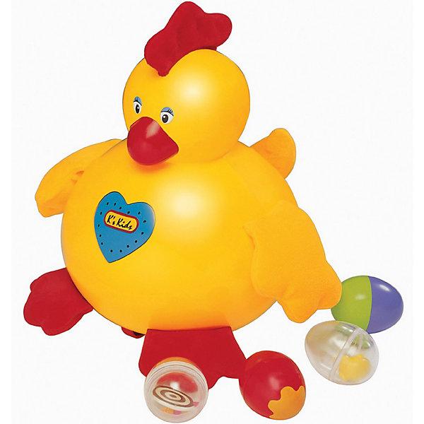 Курица-несушка ЭммаИнтерактивные игрушки для малышей<br>Забавная курица-несушка, которая очарует Вашего малыша. Эмма поет и бегает, а потом  останавливается и сносит яичко (4 разноцветных и гремящих яйца в комплекте). <br>Игрушка легко перемещается за счет маленьких колесиков на дне. Голова и туловище курочки выполнены из пластика, а лапки, хохолок и крылышки из мягкой ткани, причем в хохолке хрустящая прослойка, а в крылышках - гранулы.<br>Нажмите на кнопочку в виде сердечка, которая расположена на животе курочки, и она тут же начнет кудахтать, исполняя свои веселые песни.<br><br>Игрушка развивает у ребенка координацию движений, моторику рук, слух, логику, тактильное и цветовое восприятие. <br><br>Дополнительная информация: <br><br>- В комплекте: курица и 4 яйца.<br>- Курица ходит, несет яйца и поет песни.<br>- материал: высокопрочный пластик, текстиль<br>- вес, 1160 гр.<br>- размер упаковки: 29х29х20 см.<br>- размер игрушки: 17.5 х 25 х 17.5 см.<br>- работа от батареек<br><br>Курицу-несушку Эмму  от Ks Kids  можно купить в нашем интернет-магазине.<br><br>Ширина мм: 175<br>Глубина мм: 175<br>Высота мм: 250<br>Вес г: 675<br>Возраст от месяцев: 9<br>Возраст до месяцев: 60<br>Пол: Унисекс<br>Возраст: Детский<br>SKU: 3155511