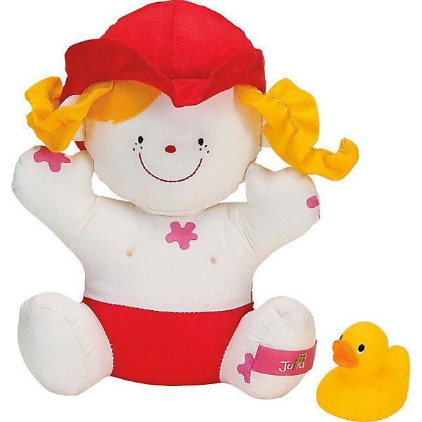 Девочка Julia для купанияБренды кукол<br>Дружелюбная мягкая кукла Джулия и маленький утёнок станут настоящими друзьями и постоянными участниками игр в воде для малыша. Крохе понравится играть с Джулией, трогать за мягкие ручки и ножки, тянуть за шляпку и косички, мять и тискать её, а чудесная кукла в ответ будет улыбаться ребёнку. На ней много «грязных» пятен, которые исчезают в воде, что еще больше привлекает малышей. К тому же, в набор входит маленькая резиновая уточка, которая также не оставит крох равнодушными. Вряд ли теперь малыш расстанется со своими новыми друзьями – они такие замечательные, милые и трогательные! Игрушка предназначена для детей от 6-ти месяцев и может использоваться длительный период времени. За ней не нужен особый уход, после приема ванны достаточно вытащить игрушку из воды и просушить.<br><br> В комплекте:<br> - кукла Джулия;<br> - утёнок-брызгалка.<br><br>Игрушка не только развеселит и позабавит малыша, но и будет способствовать его комплексному развитию:<br><br>- в процессе игры формируется наблюдательность, смекалка и внимание, происходит знакомство с понятием большой - маленький;<br><br>- развивается глазомер и координация, слаженность и точность движений и различные интеллектуальные качества: логика, память, особенно зрительная, пространственное представление, воображение, умение находить зависимости и закономерности;<br><br>- крупная моторика: малыш учится пользоваться для игры двумя руками сразу: он держит игрушки, зажимает в руке, перекладывает их из руки в руку, сдавливает;<br><br>- мелкие детали и разнообразная фактура материалов способствуют развитию тактильных ощущений и формированию мелкой моторики пальчиков рук малыша;<br><br>- яркие цвета и забавные формы стимулируют зрение, а звуки - слух.<br><br>Дополнительная информация:<br><br>- материал: текстиль с набивкой синтетическим волокном, высококачественная гигиеническая резина.<br>- цвет: желтый  <br>- вес: 110 г<br>- размеры игрушки:<br>- кукла – 16х5х21 см.<br>- утёнок - 5,5