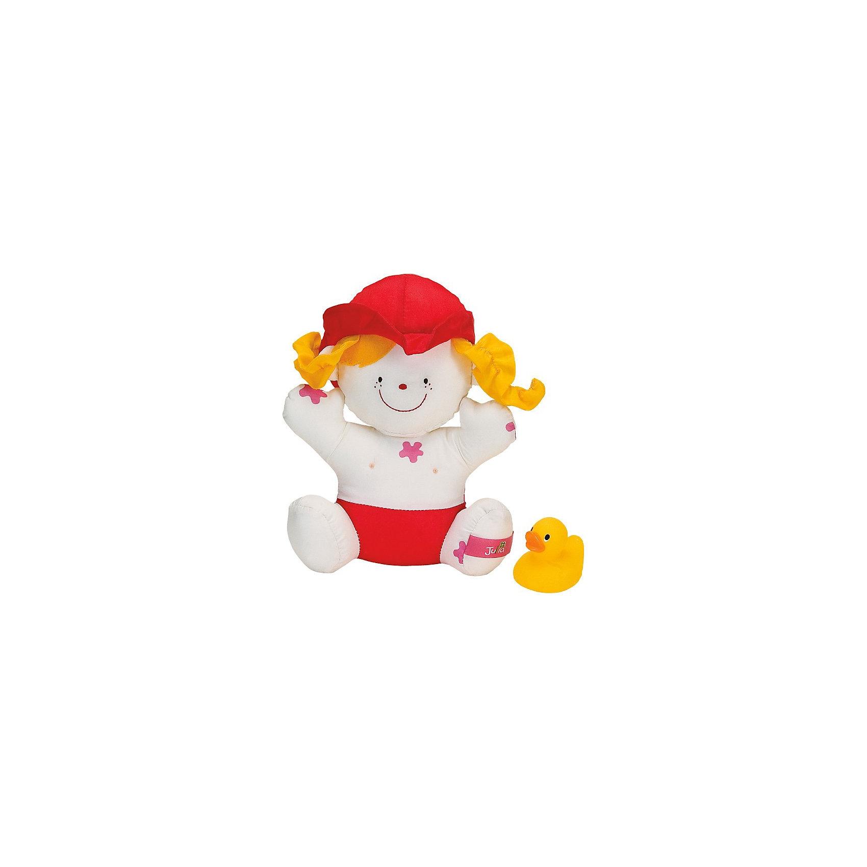 Девочка Julia для купанияМягкие куклы<br>Дружелюбная мягкая кукла Джулия и маленький утёнок станут настоящими друзьями и постоянными участниками игр в воде для малыша. Крохе понравится играть с Джулией, трогать за мягкие ручки и ножки, тянуть за шляпку и косички, мять и тискать её, а чудесная кукла в ответ будет улыбаться ребёнку. На ней много «грязных» пятен, которые исчезают в воде, что еще больше привлекает малышей. К тому же, в набор входит маленькая резиновая уточка, которая также не оставит крох равнодушными. Вряд ли теперь малыш расстанется со своими новыми друзьями – они такие замечательные, милые и трогательные! Игрушка предназначена для детей от 6-ти месяцев и может использоваться длительный период времени. За ней не нужен особый уход, после приема ванны достаточно вытащить игрушку из воды и просушить.<br><br> В комплекте:<br> - кукла Джулия;<br> - утёнок-брызгалка.<br><br>Игрушка не только развеселит и позабавит малыша, но и будет способствовать его комплексному развитию:<br><br>- в процессе игры формируется наблюдательность, смекалка и внимание, происходит знакомство с понятием большой - маленький;<br><br>- развивается глазомер и координация, слаженность и точность движений и различные интеллектуальные качества: логика, память, особенно зрительная, пространственное представление, воображение, умение находить зависимости и закономерности;<br><br>- крупная моторика: малыш учится пользоваться для игры двумя руками сразу: он держит игрушки, зажимает в руке, перекладывает их из руки в руку, сдавливает;<br><br>- мелкие детали и разнообразная фактура материалов способствуют развитию тактильных ощущений и формированию мелкой моторики пальчиков рук малыша;<br><br>- яркие цвета и забавные формы стимулируют зрение, а звуки - слух.<br><br>Дополнительная информация:<br><br>- материал: текстиль с набивкой синтетическим волокном, высококачественная гигиеническая резина.<br>- цвет: желтый  <br>- вес: 110 г<br>- размеры игрушки:<br>- кукла – 16х5х21 см.<br>- утёнок - 5,5