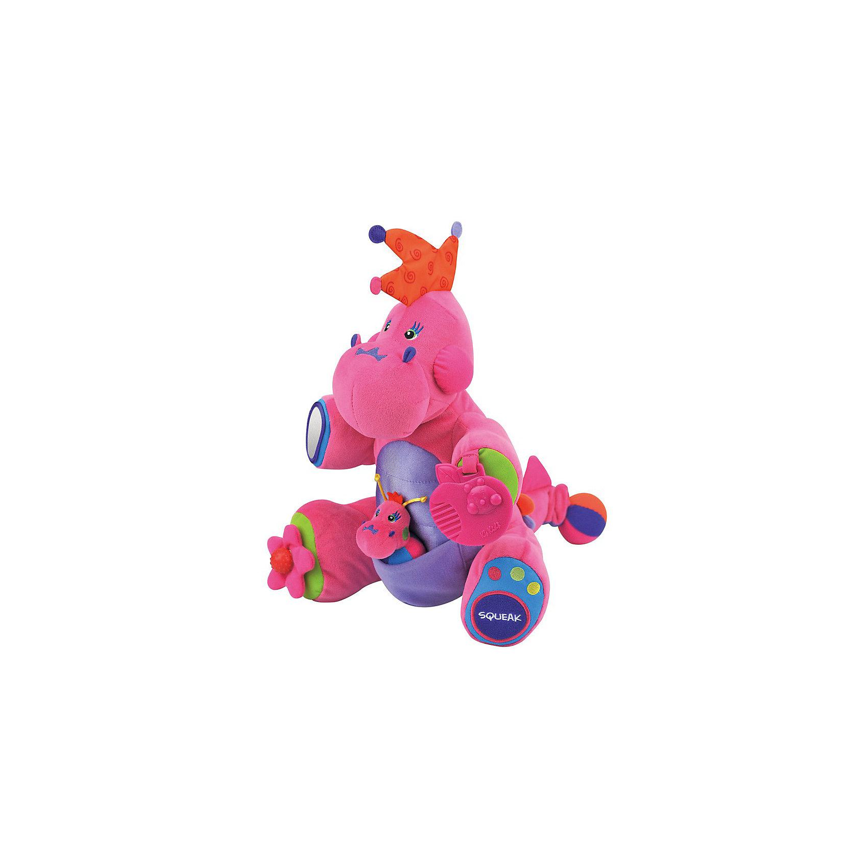 Развивающая игрушка Boss, розовыйЯрко-розовый  дракончик Boss – это не просто красивая игрушка, в нём есть множество развивающих функций. Хохолок  и спинка дракона, состоят из разноцветных мягких и шуршащих зубчиков. На хвостике шарик-погремушка, который можно потянуть и он станет длиннее, а потом начнет вибрировать и собираться в первоначальную форму. На правой ножке цветочек с маленькой круглой ручкой, которая при вращении издает щелкающие звуки. В левой ножке находится «пищалка». Правая ручка снабжена безопасным зеркалом, а левая - прорезывателем для зубок в форме яблока. А в кармашке на пузике  сидит еще один дракончик.<br><br>Дополнительная информация:<br><br>- цвет: голубой  <br>- материал: текстиль <br>- размеры упаковки (коробки): 33,5 х 27 х 32 см. <br>- вес : 883 г.<br><br> Дракончика Boss от Ks Kids можно купить в нашем интернет-магазине.<br><br>Ширина мм: 270<br>Глубина мм: 320<br>Высота мм: 335<br>Вес г: 300<br>Возраст от месяцев: 6<br>Возраст до месяцев: 48<br>Пол: Женский<br>Возраст: Детский<br>SKU: 3155516