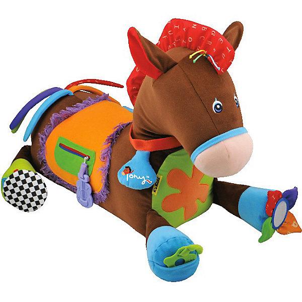 Игровой центр Пони Тони, Ks KidsРазвивающие центры<br>Лошадка Пони Тони K`s Kids - это  развивающая игрушка, с которой малышу никогда не будет скучно. Забавный и   веселый пони выполнен в ярких тонах, содержит в себе более 20 развивающих элементов, сделанных из разнообразных материалов. <br>Пони можно подёргать за шуршащие ушки, потрещать цветочком на сидении, потрусить колечко на ошейнике и ещё много других, стимулирующих слух игровых элементов, спрятано на этой уникальной развивающей пони Кс Кидс!<br>Карманчик у Пони расстёгивается и застёгивается на молнии, а разноцветный хвостик так и манит его подёргать, что великолепно развивает мелкую и крупную моторику, ловкость и силу ручек! Усевшись на Пони верхом, как настоящий наездник, Пони порадует малыша цокотом копыт!<br>Все эти элементы являются средствами для развития мелкой моторики, а игра с застежкой-молнией и пуговицей разовьет навык застегивания одежды.<br>Яркие цвета содействует развитию зрения, в время игры с крупной игрушкой ребенок развивает общую координацию движений, разглядывая свое отражение в зеркальце, малыш получает первые знания о строении человеческого лица.<br><br>Дополнительная информация:<br><br>- материал: текстиль, пластмасса<br>- цвет: коричневый  <br>- Размеры (см): 55 х 50 х 75<br><br>Развивающий центр Лошадка Пони Тони K`s Kids можно купить в нашем интернет-магазине.<br>Ширина мм: 440; Глубина мм: 500; Высота мм: 460; Вес г: 1410; Возраст от месяцев: 6; Возраст до месяцев: 48; Пол: Унисекс; Возраст: Детский; SKU: 3155517;