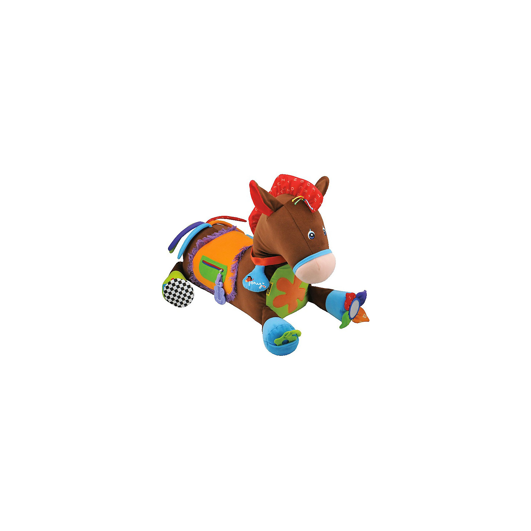Игровой центр Пони Тони, Ks KidsРазвивающие игрушки<br>Лошадка Пони Тони K`s Kids - это  развивающая игрушка, с которой малышу никогда не будет скучно. Забавный и   веселый пони выполнен в ярких тонах, содержит в себе более 20 развивающих элементов, сделанных из разнообразных материалов. <br>Пони можно подёргать за шуршащие ушки, потрещать цветочком на сидении, потрусить колечко на ошейнике и ещё много других, стимулирующих слух игровых элементов, спрятано на этой уникальной развивающей пони Кс Кидс!<br>Карманчик у Пони расстёгивается и застёгивается на молнии, а разноцветный хвостик так и манит его подёргать, что великолепно развивает мелкую и крупную моторику, ловкость и силу ручек! Усевшись на Пони верхом, как настоящий наездник, Пони порадует малыша цокотом копыт!<br>Все эти элементы являются средствами для развития мелкой моторики, а игра с застежкой-молнией и пуговицей разовьет навык застегивания одежды.<br>Яркие цвета содействует развитию зрения, в время игры с крупной игрушкой ребенок развивает общую координацию движений, разглядывая свое отражение в зеркальце, малыш получает первые знания о строении человеческого лица.<br><br>Дополнительная информация:<br><br>- материал: текстиль, пластмасса<br>- цвет: коричневый  <br>- Размеры (см): 55 х 50 х 75<br><br>Развивающий центр Лошадка Пони Тони K`s Kids можно купить в нашем интернет-магазине.<br><br>Ширина мм: 440<br>Глубина мм: 500<br>Высота мм: 460<br>Вес г: 1410<br>Возраст от месяцев: 6<br>Возраст до месяцев: 48<br>Пол: Унисекс<br>Возраст: Детский<br>SKU: 3155517