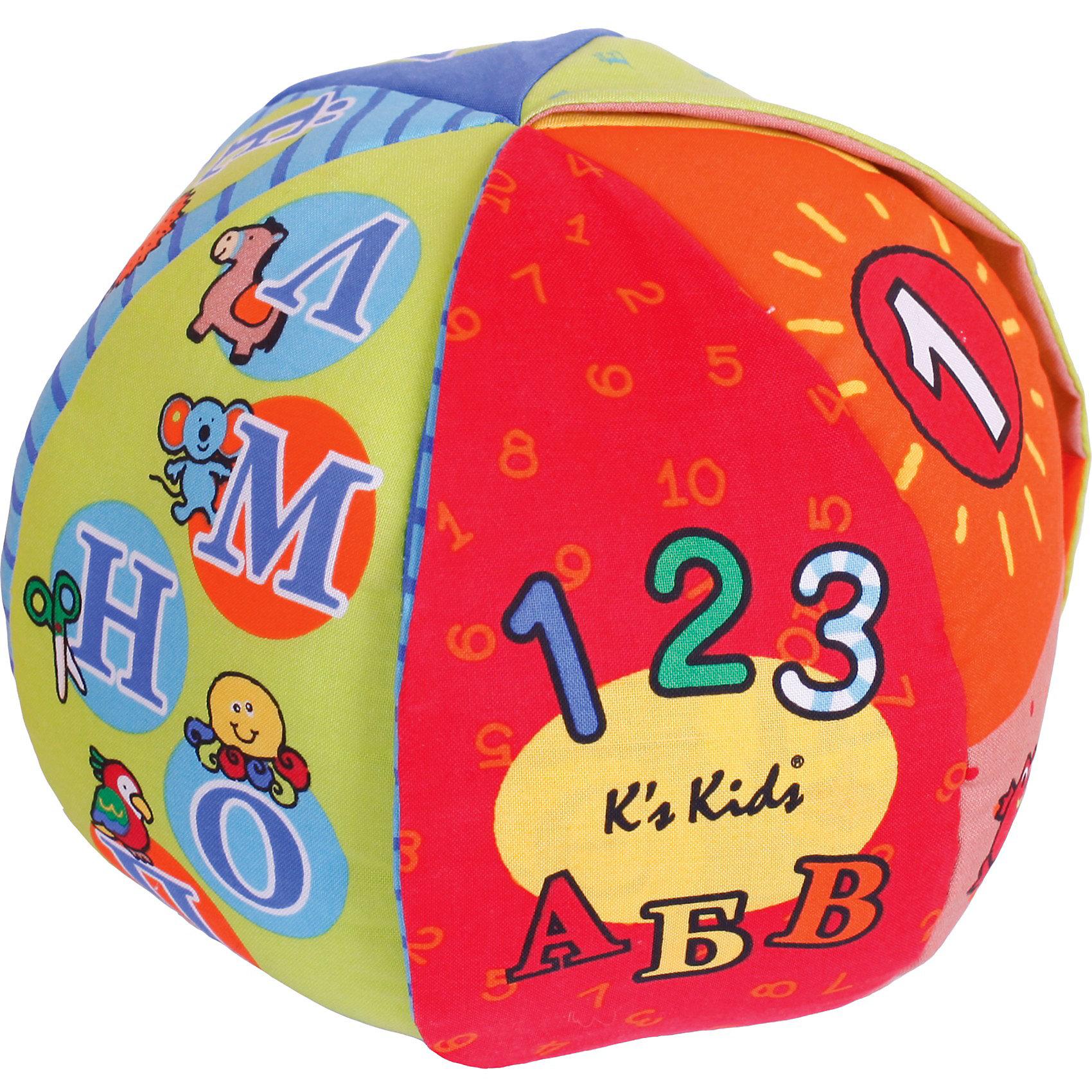 Говорящий мячГоворящий мячик выполнен из мягкого приятного на ощупь текстиля, легкий и удобный. Это удивительная игрушка, которая в игровой форме позволит Вашему ребенку выучивать слова и цифры или же сказать самое первое слово. Мяч надо кидать друг другу, а он будет говорить слово тому, кто держит его в руках. Малыш может сразу же повторить то, что услышал. Цифры на мяче обозначены также и в количественном выражении (возле 1 изображено одно солнышко, возле 5 - пять рыбок и т.п.). Мяч произносит всего 25 песенок, фраз и футбольных звуков. Значение и написание слов легко запомнится ребенку и значительно расширит его кругозор. Такая простая игра стимулирует ребенка к разговору. Говорящий мяч обладает красивым и ярким дизайном. Он приятный на ощупь и хорошо удерживается детскими руками. Ребенок сможет развивать речевой аппарат, координацию своих движений, ловкость, моторику пальцев и сенсорное восприятие.<br><br>Дополнительная информация:<br><br>- игрушка русифицирована<br>- материал: текстиль<br>- диаметр мяча: 22 см.<br>- размер коробки: 19 х19х24 см.<br>- вес: 281 гр.<br>- мяч говорит и обучает цифрам, счету, цветам. Есть переключатель громкости<br>- можно стирать в стиральной машине после удаления электронной базы<br>- работа от 2-х батареек типа ААА<br><br>Говорящий мяч от Ks Kids можно купить в нашем интернет-магазине.<br><br>Ширина мм: 200<br>Глубина мм: 200<br>Высота мм: 200<br>Вес г: 481<br>Возраст от месяцев: 12<br>Возраст до месяцев: 36<br>Пол: Унисекс<br>Возраст: Детский<br>SKU: 3155518