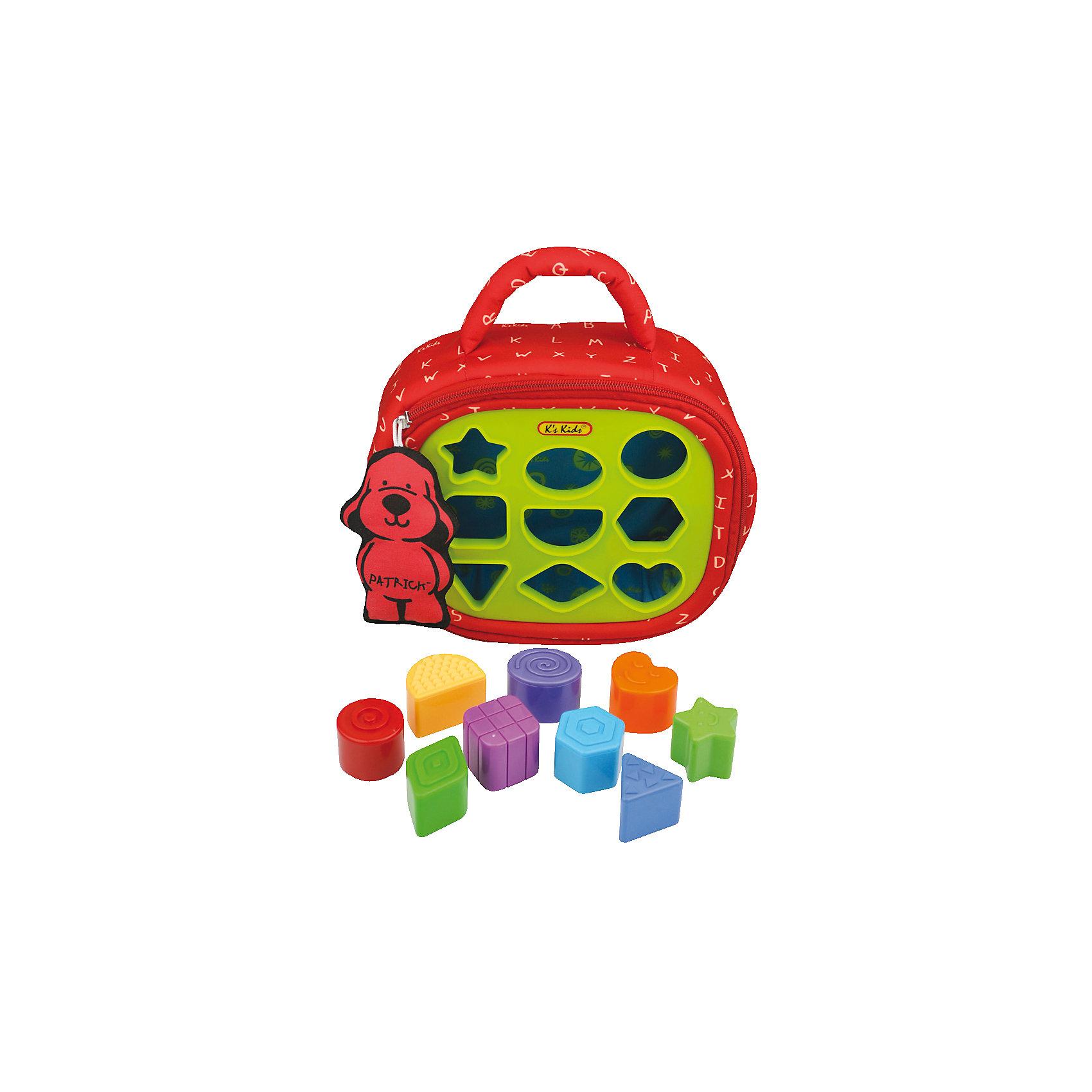 Сортер Патрик, Ks KidsСортеры<br>Сортер Патрик - это компактный, удобный и мягкий рюкзачок с сортером. В сортере есть 9 разных отверстий, в которые можно вставлять соответствующие им кубики. Кубики можно хранить просто в самом Патрике. Вместе с сортером Патриком малыш научиться идентифицировать формы, он так же сможет и немного поиграть. Например, в верхних лапках есть шарики, которые можно ощупать. В одну из лап встроено зеркало. А сам рюкзак-Патрик – это большая и красивая мягкая игрушка. Играя с сортером Патриком, малыш активнее будет развивать свою логику и фантазию, а также моторику рук и пальцев. Яркий и красочный дизайн поможет ему расширить цветовое восприятие. Игрушка-сортер K's kids Патрик предназначен для игры ребенка, а также игрушка представление о геометрических формах и цветовой палитре. <br><br>Дополнительная информация:<br><br>- количество фигурок: 9 шт.<br>- размер фигурок: 33х35х13 см.<br>- материал: текстиль, пластмасса<br>- Размеры (см): 32 х 23 х 9.<br>- длина упаковки: 12 см.<br>- ширина упаковки: 38 см.<br>- высота упаковки: 24 см.<br>- вес: 0,7 кг.<br><br>Сортер Патрик от компании K`s Kids можно купить в нашем интернет-магазине.<br><br>Ширина мм: 230<br>Глубина мм: 85<br>Высота мм: 270<br>Вес г: 710<br>Возраст от месяцев: 12<br>Возраст до месяцев: 36<br>Пол: Унисекс<br>Возраст: Детский<br>SKU: 3155521