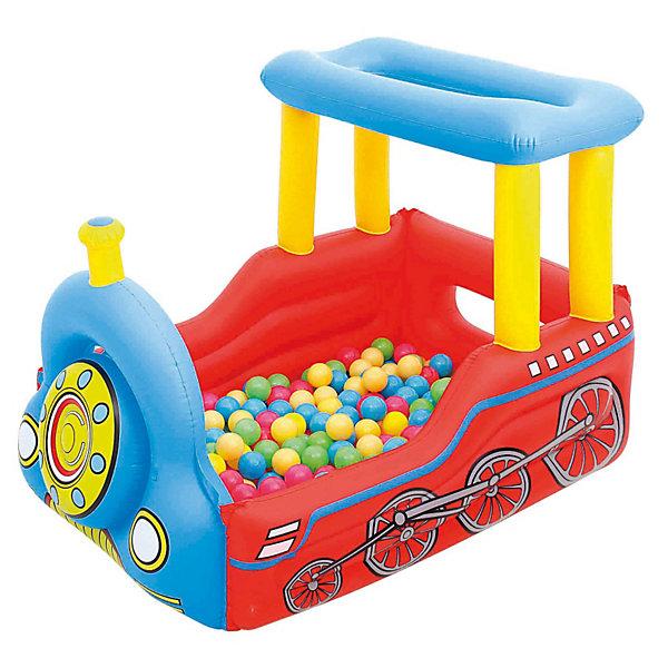 Детский игровой центр Поезд с 50 шариками для игры, BestwayИгровые центры<br>Детский игровой центр Поезд с 50 шариками для игры, Bestway (Бествей). Передняя часть паровоза отстёгивается, для того чтобы дети могли входить и выходить в «кабину». Дно ненадувное. Паровозик оснащен специальным звуковым сигналом, подражающим настоящему гудку состава.<br><br>Надувной центр Паровоз понравится Вашему ребенку и его друзьям, ведь играть вместе так увлекательно!<br><br>Дополнительная информация:<br><br>- В комплекте: игровой центр Bestway, 50 шариков<br>- Размер:137 x 99 x 94 см<br>- Материал: винил<br>- Не предназначен для игры с водой. <br><br>Детский игровой центр Поезд с 50 шариками для игры, Bestway (Бествей) можно купить в нашем интернет-магазине.<br>Ширина мм: 403; Глубина мм: 403; Высота мм: 166; Вес г: 2734; Возраст от месяцев: 24; Возраст до месяцев: 96; Пол: Унисекс; Возраст: Детский; SKU: 3155551;