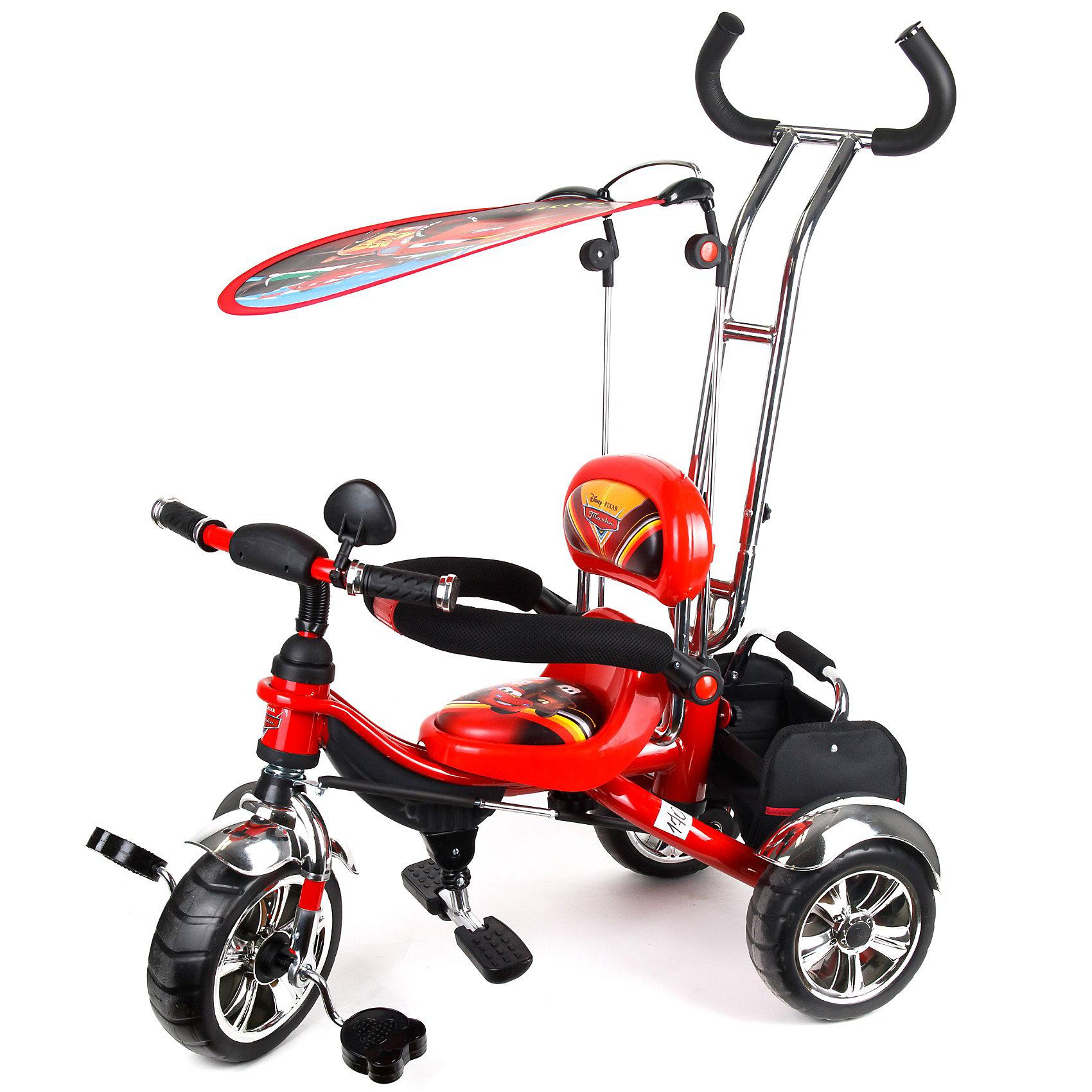 Трехколесный велосипед с ручкой, Тачки-2Тачки<br>Яркий, удобный и красивый детский трехколесный велосипед с тентом, подножкой, корзиной для игрушек и родительской ручкой.<br><br>Особенности модели:<br><br>- Надежная стальная рама, усиленная дополнительными ребрами жесткости.<br>- Широкие пластиковые колеса с шинами ПВХ.<br>- Удобное мягкое сиденье с высокой спинкой.<br>- Съемная дуга безопасности.<br>- Родительская ручка управления с регулируемой металлической тягой, позволяющей менять угол поворота переднего колеса.<br>- Складная подножка.<br>- Задняя корзина из плотной ткани на металлическом каркасе с удобной ручкой.<br>- Тент от солнца и дождя из ткани со специальной пропиткой.<br>-Все элементы из ткани легко снимаются для стирки.<br><br>Дополнительная информация:<br><br>- Материалы: рама- сталь, шины-ПВХ, тент и корзина - текстиль.<br>- Цвет: красный, принт-Тачки (Cars).<br>-Размеры велосипеда: высота 90см., длина (вид сбоку) 85см.<br>- Вес: ок. 11 кг.<br><br>Ширина мм: 500<br>Глубина мм: 900<br>Высота мм: 1000<br>Вес г: 11000<br>Возраст от месяцев: 12<br>Возраст до месяцев: 36<br>Пол: Мужской<br>Возраст: Детский<br>SKU: 3156365