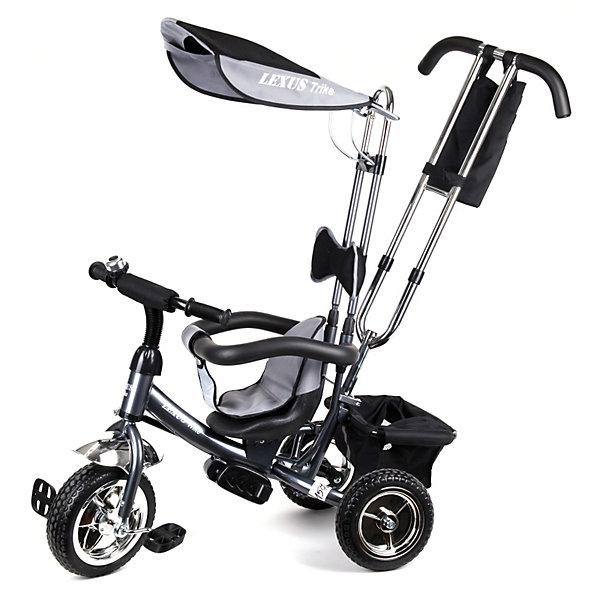 Lexus Trike Трехколесный велосипед, графитВелосипеды детские<br>Красивый, стильный и удобный детский трехколесный велосипед от Lexus Trike!<br><br>Особенности модели:<br><br>- Надежная стальная рама, усиленная дополнительными ребрами жесткости.<br>- Широкие пластиковые колеса с шинами ПВХ.<br>- Устойчивые к износу металлические втулки на оси переднего колеса снабжены высококачественными подшипниками.<br>- Удобное сиденье с высокой спинкой и мягкой тканевой накладкой.<br>- Съемная дуга безопасности.<br>- Родительская ручка управления с регулируемой металлической тягой, позволяющей менять угол поворота переднего колеса.<br>- Складная подножка.<br>- Задняя корзина из плотной ткани на металлическом каркасе.<br>- Практичная сумка с креплением на ручке управления.<br>- Тент от солнца и дождя из ткани со специальной пропиткой.<br>-Все элементы из ткани легко снимаются для стирки.<br><br>Дополнительная информация:<br><br>- Материалы: рама- сталь, шины-ПВХ, тент и корзина - текстиль.<br>- Цвет: графит.<br>-Размеры велосипеда: высота 90см., длина (вид сбоку) 85см.<br>- Вес: ок. 11 кг.<br>Ширина мм: 700; Глубина мм: 270; Высота мм: 440; Вес г: 11000; Возраст от месяцев: 12; Возраст до месяцев: 36; Пол: Унисекс; Возраст: Детский; SKU: 3156371;